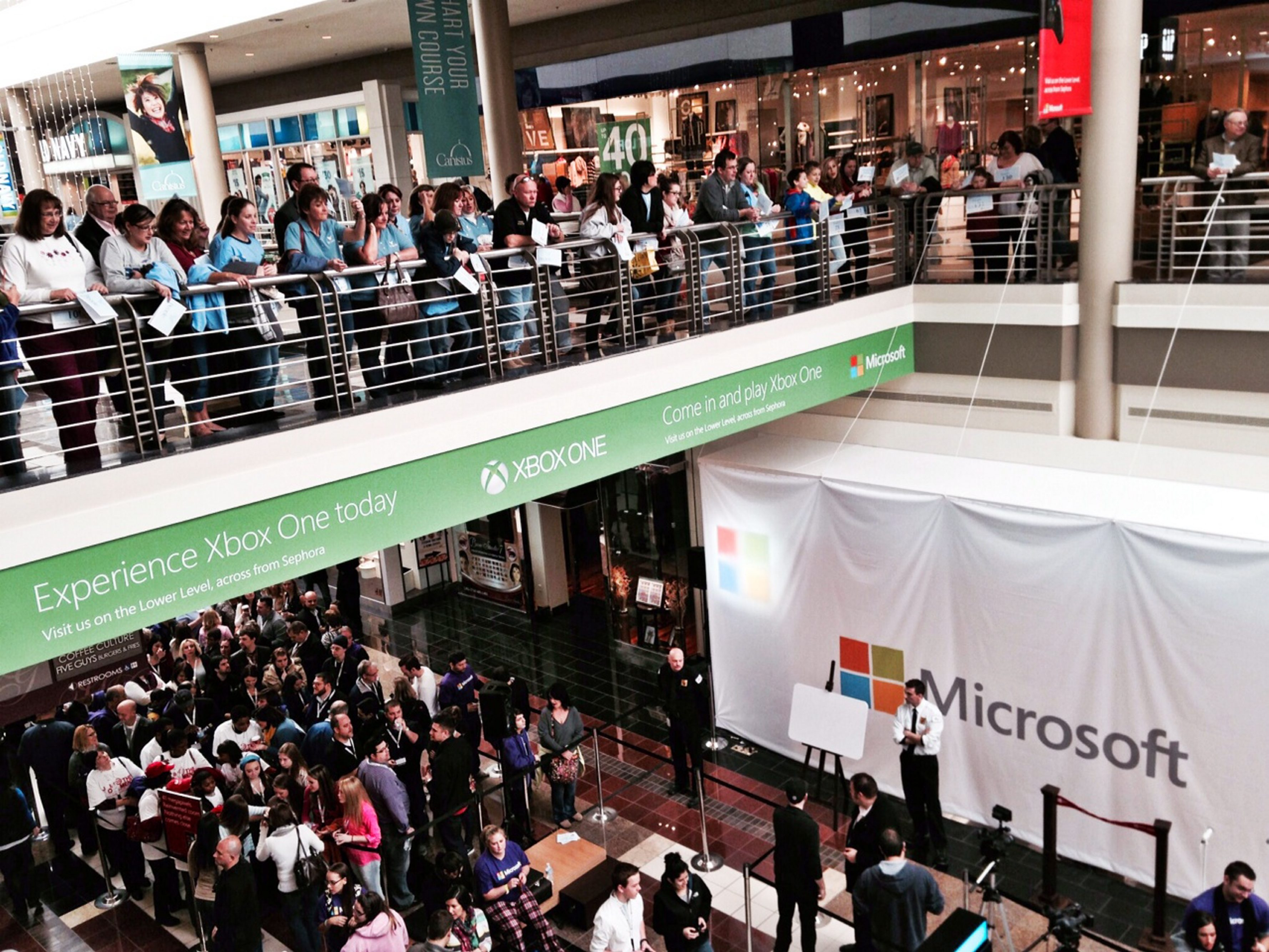 Crowds lined up at the Walden Galleria on Saturday morning for the opening of the Microsoft store.