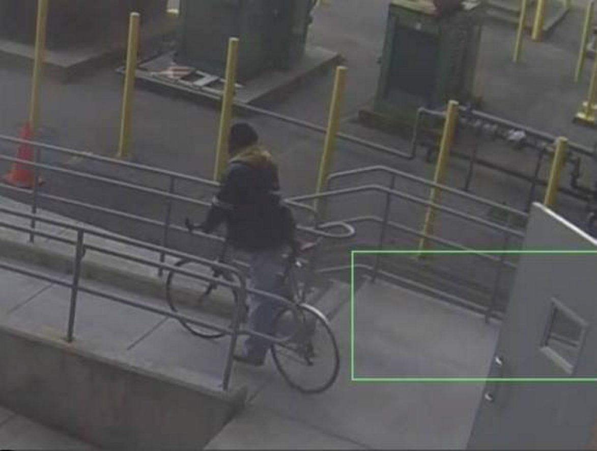 Justin Booth posted this photo on his Facebook page of the thief making off with his bicycle.