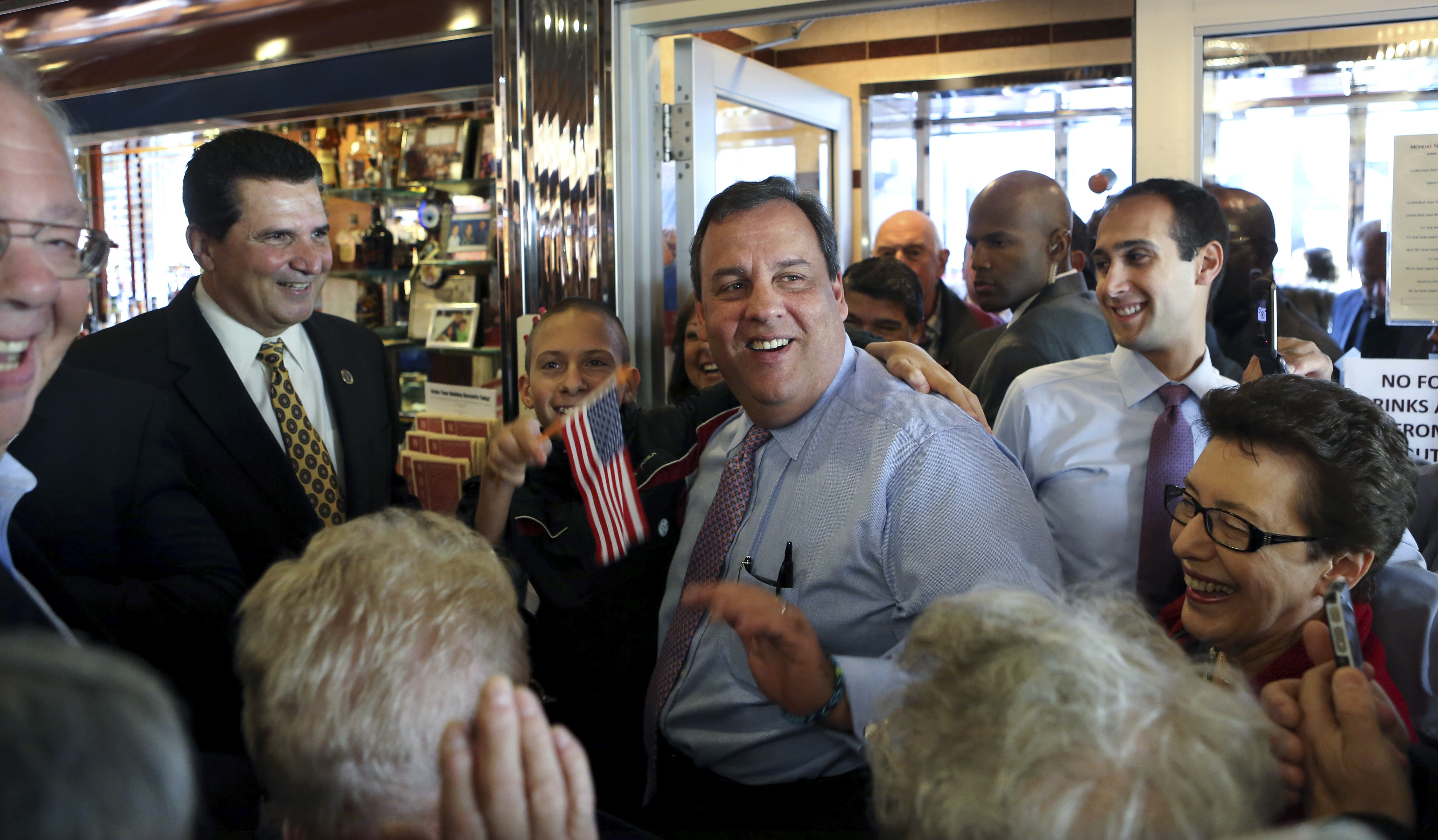 New Jersey Gov. Chris Christie was on the campaign trail Monday at the Nutley Diner in Nutley, N.J.