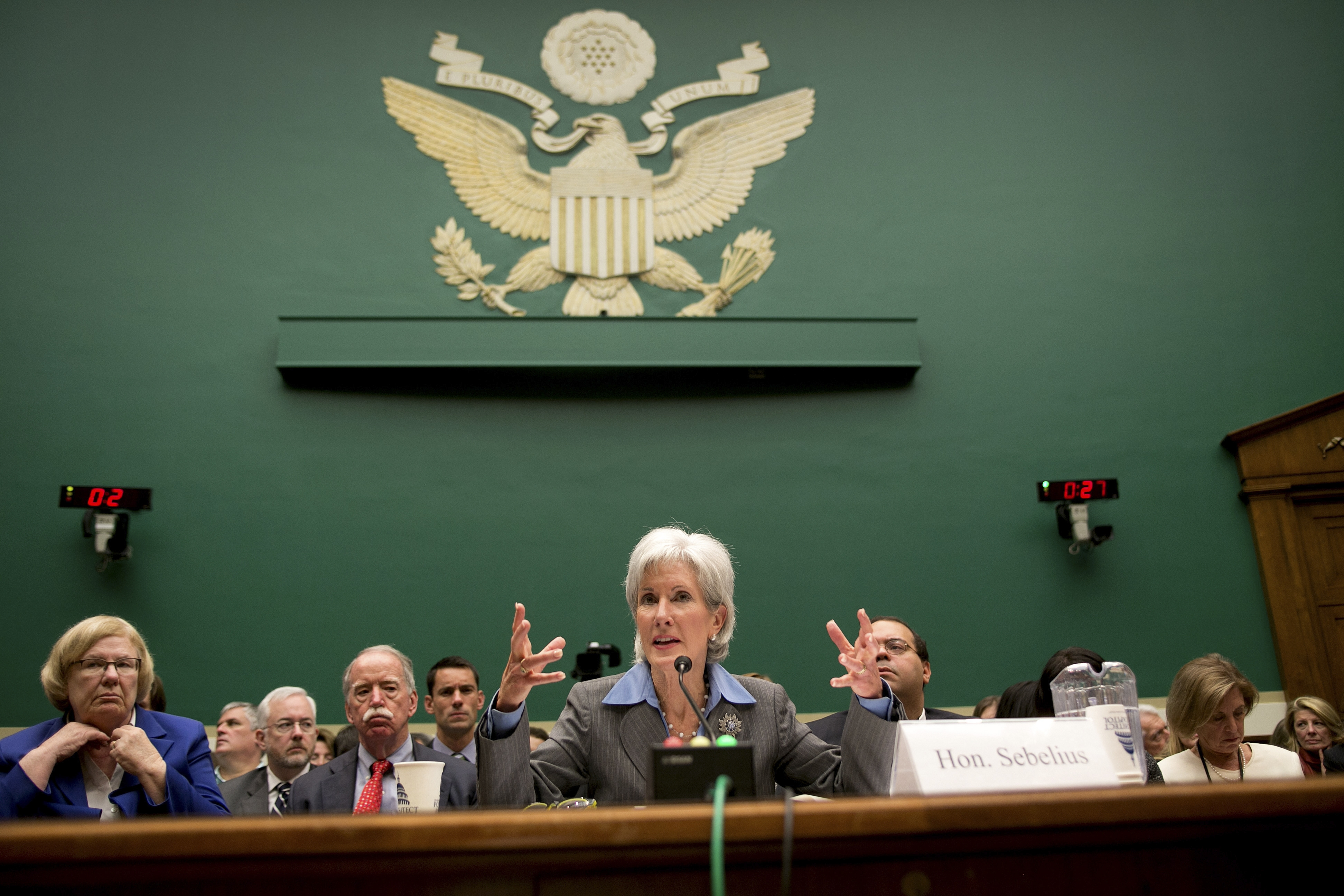 Health and Human Services Secretary Kathleen Sebelius testifies before the House Energy and Commerce Committee on Capitol Hill on Wednesday.