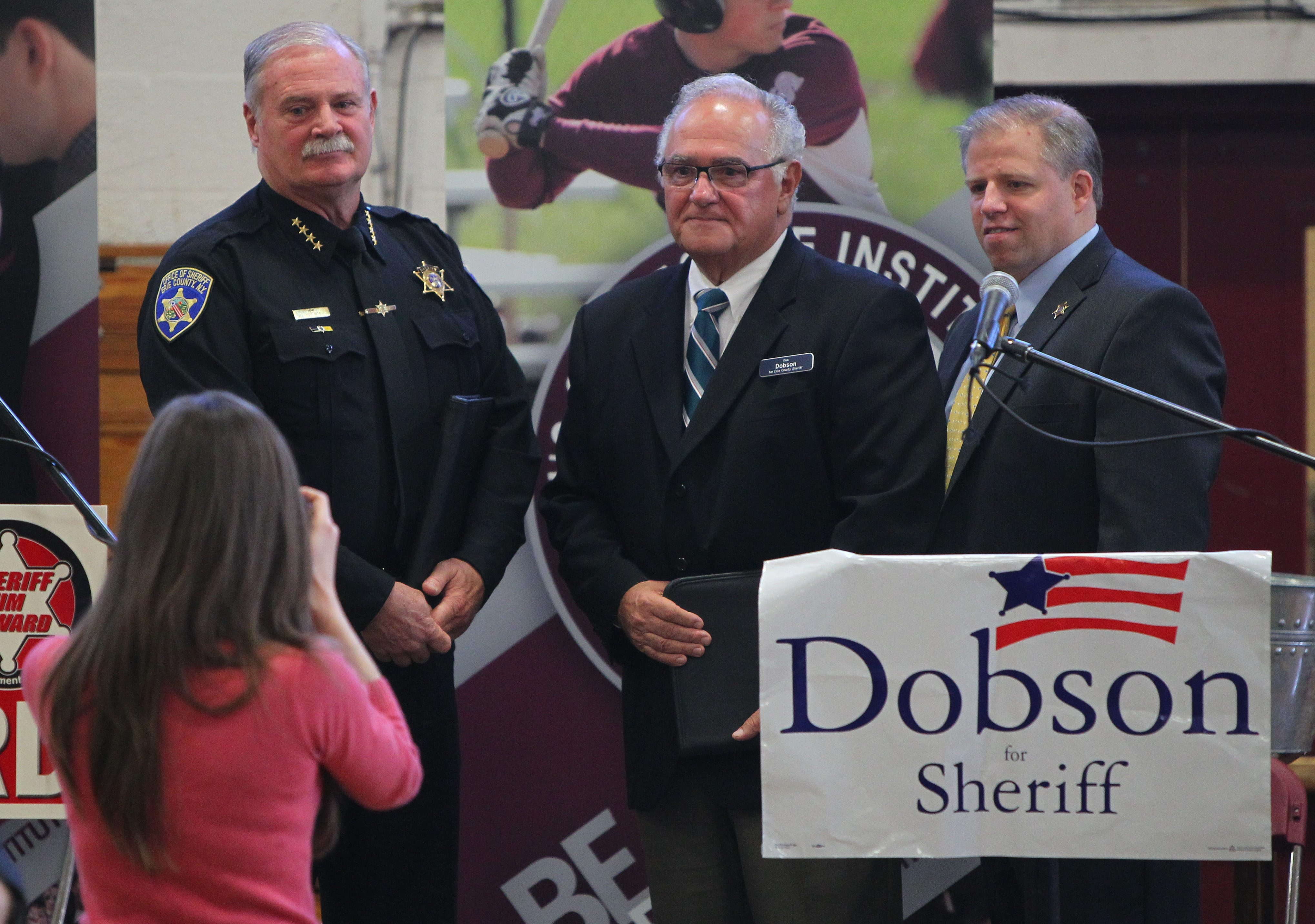 Candidates are, from left, Sheriff Timothy B. Howard, Democrat Richard E. Dobson and minor party candidate Bert D. Dunn.