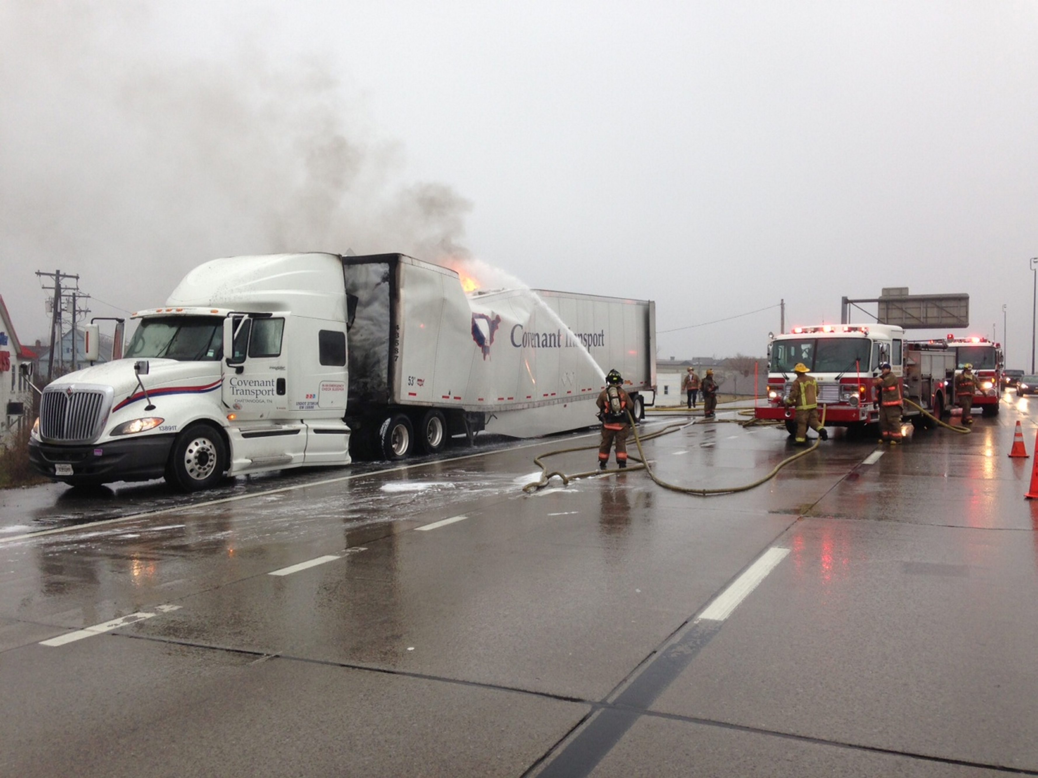 Firefighters work to put out tractor trailer fire on the I-190.  Photo by John Hickey/Buffalo News