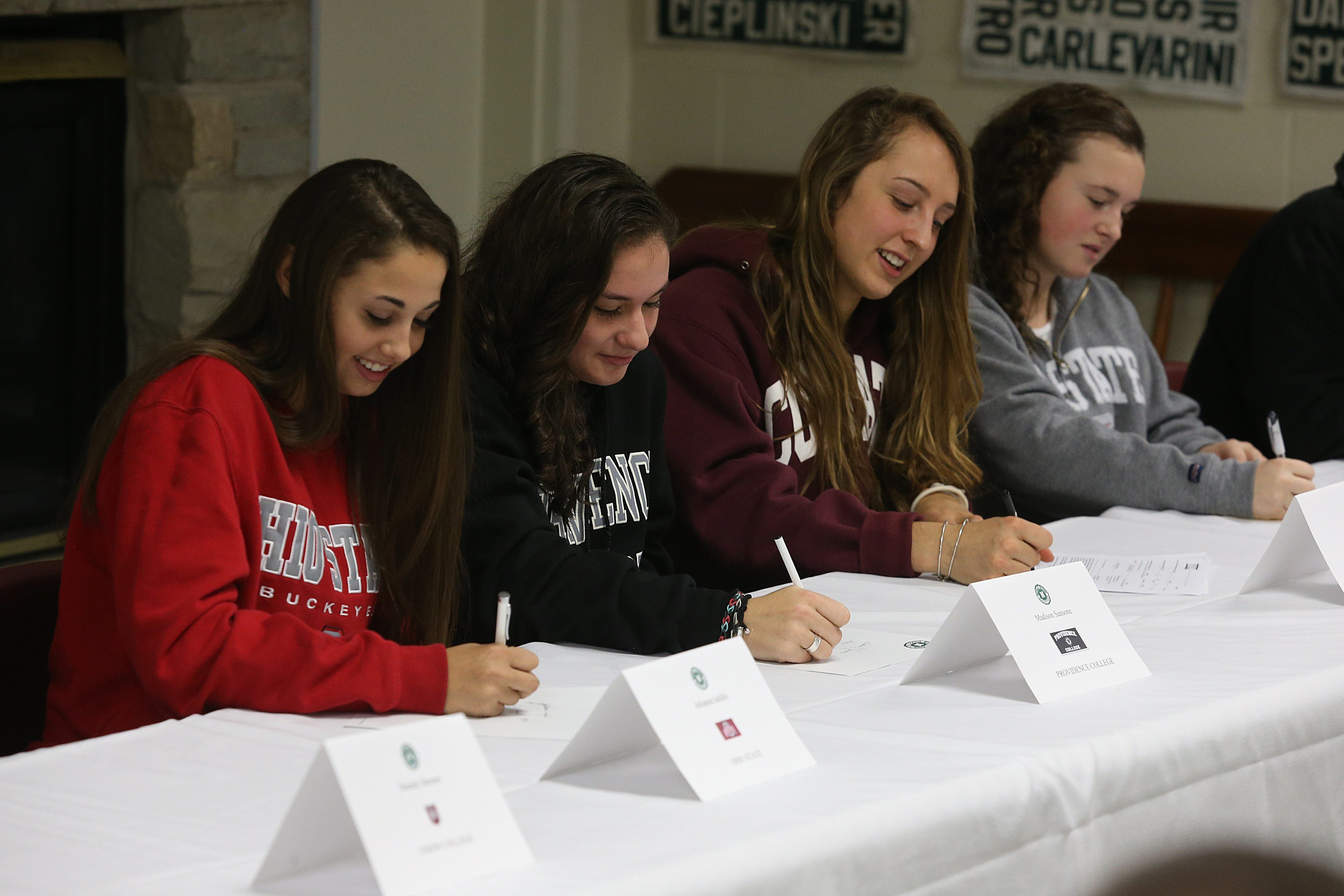 Julianna Iafallo, Madison Sansone, Annika Zalewski and Allison Gasuik were among the Nichols seniors who made it official Monday, inking their letters of intent during the early portion of the National Signing Period.