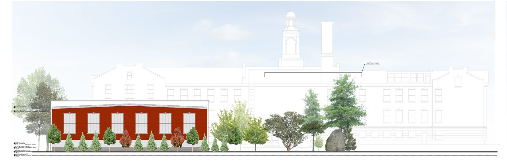 Construction has been allowed to resume on the new gym at Sacred Heart Academy, shown here in an architect's rendering.