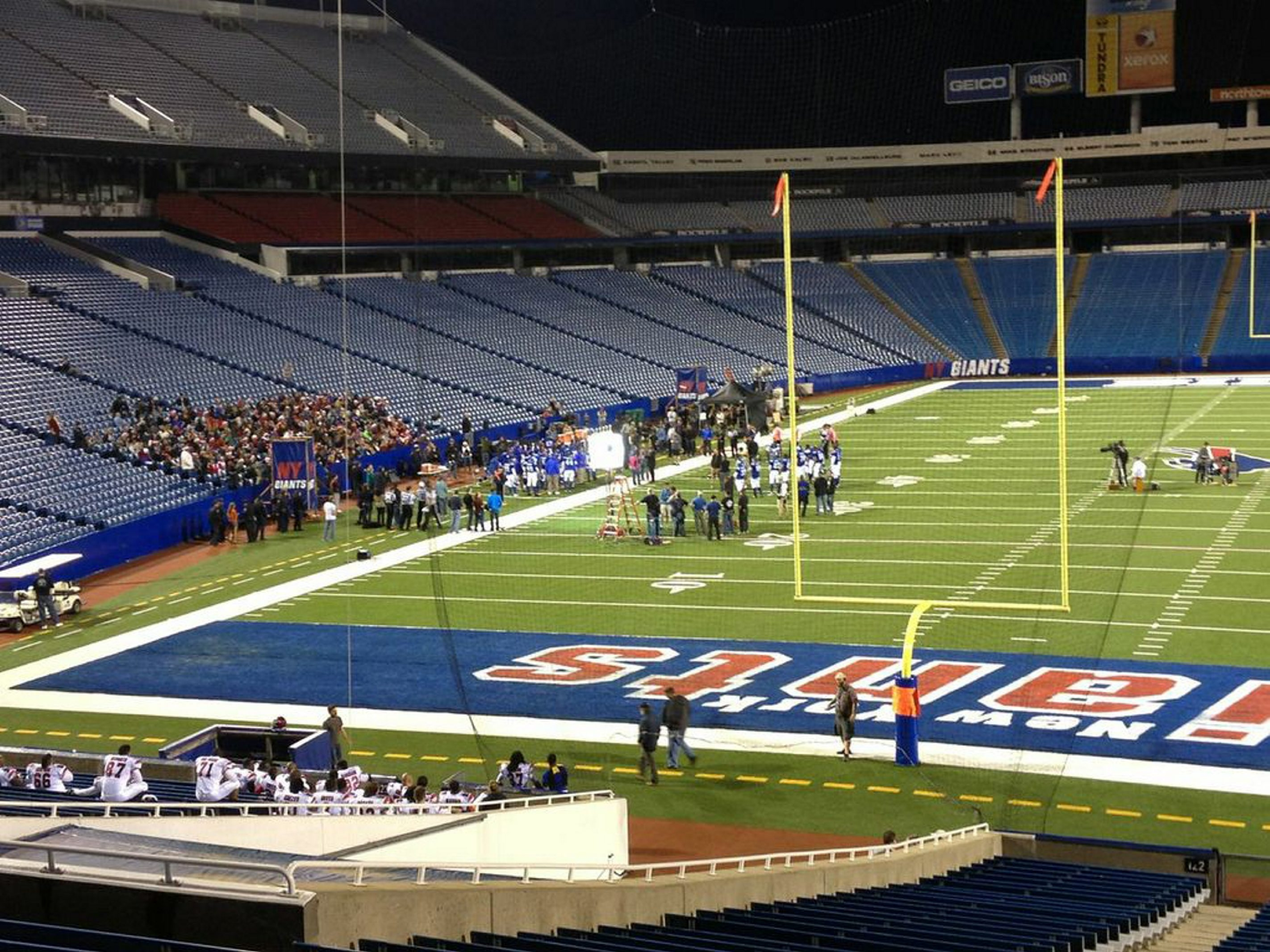 """Ralph Wilson Stadium was transformed into Giants stadium for filming of a scene in """"Best Man Holiday,"""" which opens today."""