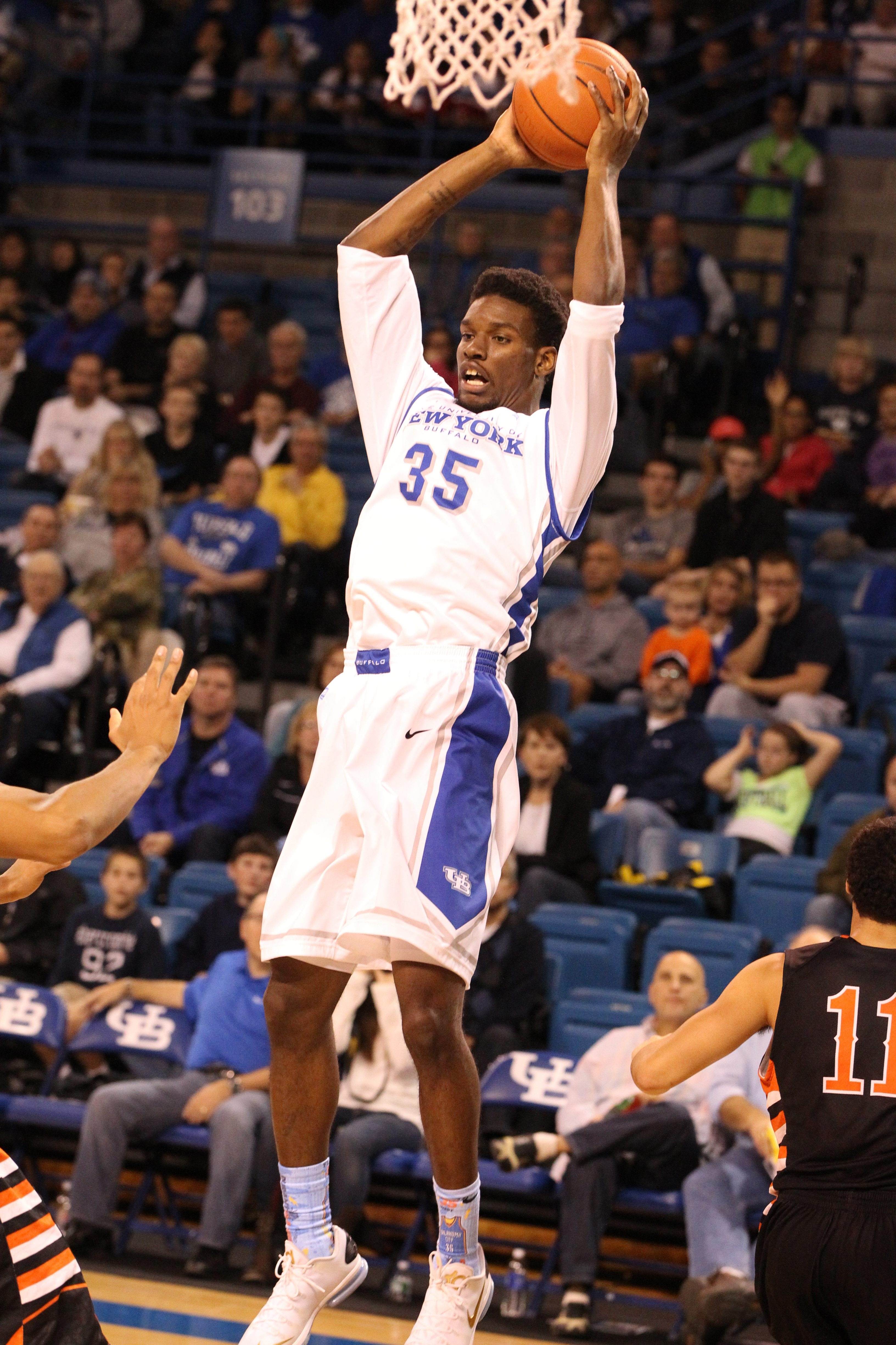 Buffalo Bulls forward Xavier Ford (35) scored 14 points on 6-of-9 shooting and grabbed two rebounds in 19 minutes during UB's win over West Virginia Wesleyan.  (James P. McCoy/ Buffalo News)
