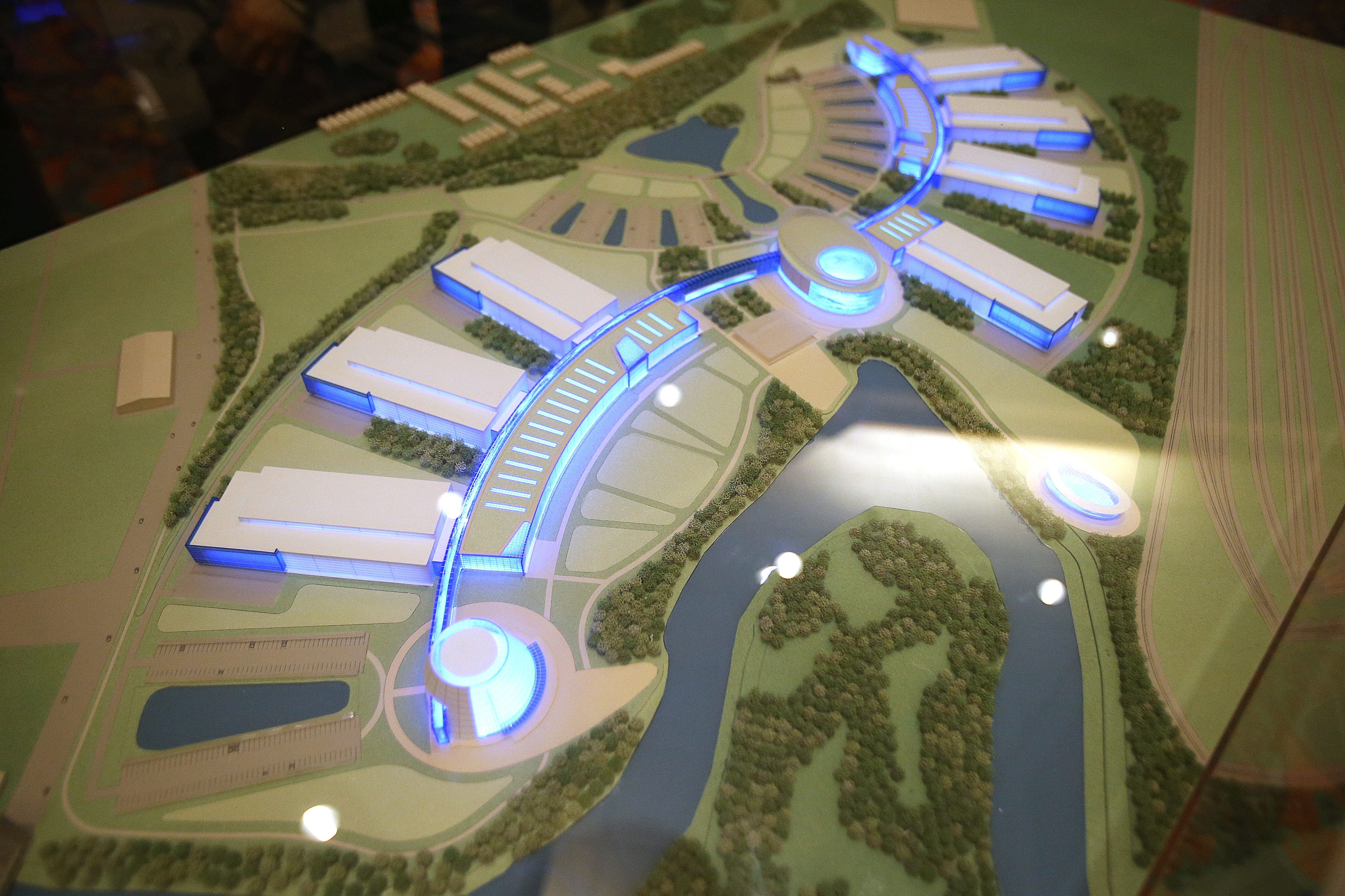 """A 3-D model of the """"River Bend Project""""  was on display Thursday in Adam's Mark Hotel."""