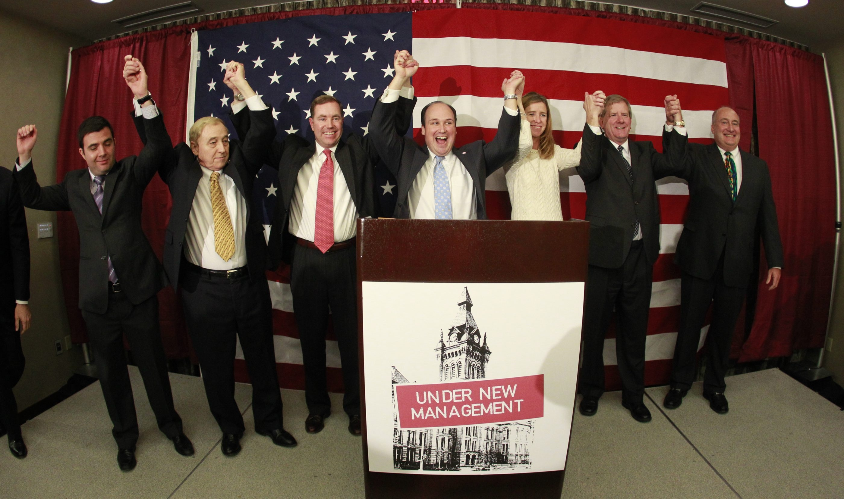 Erie County Republicans, legislators Joe Lorigo, John Mills and Ed Rath III, Party Chairman Nick Langworthy and legislators Lynne Dixon, Kevin Hardwick, and Ted Morton enjoy victory at the Embassy Suites Hotel Avant Building on Wednesday.