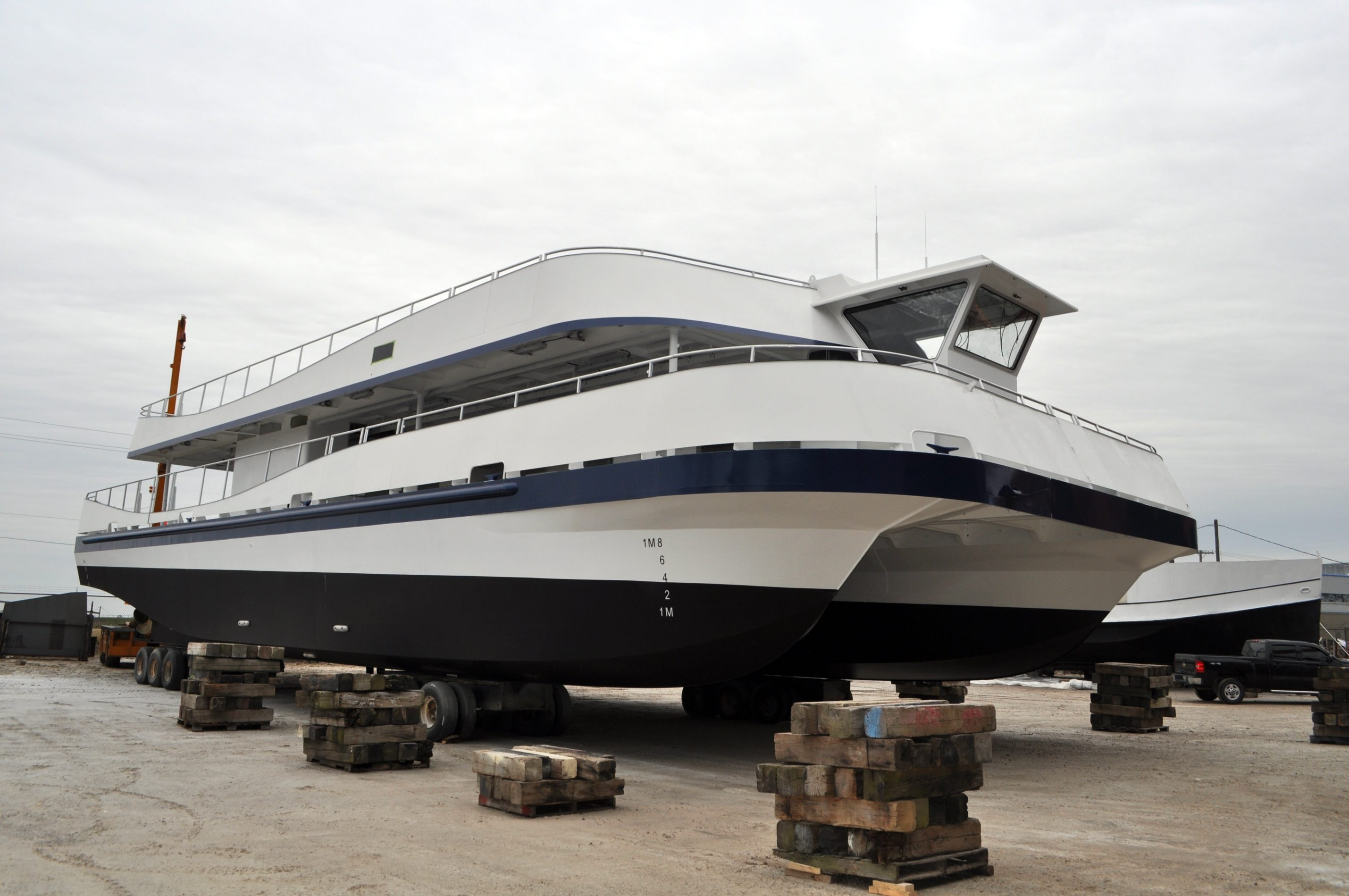 One of the new 700-passenger catamarans to be used by Hornblower Niagara Cruises to carry passengers below Niagara Falls from Niagara Falls, Ont., side of the border.