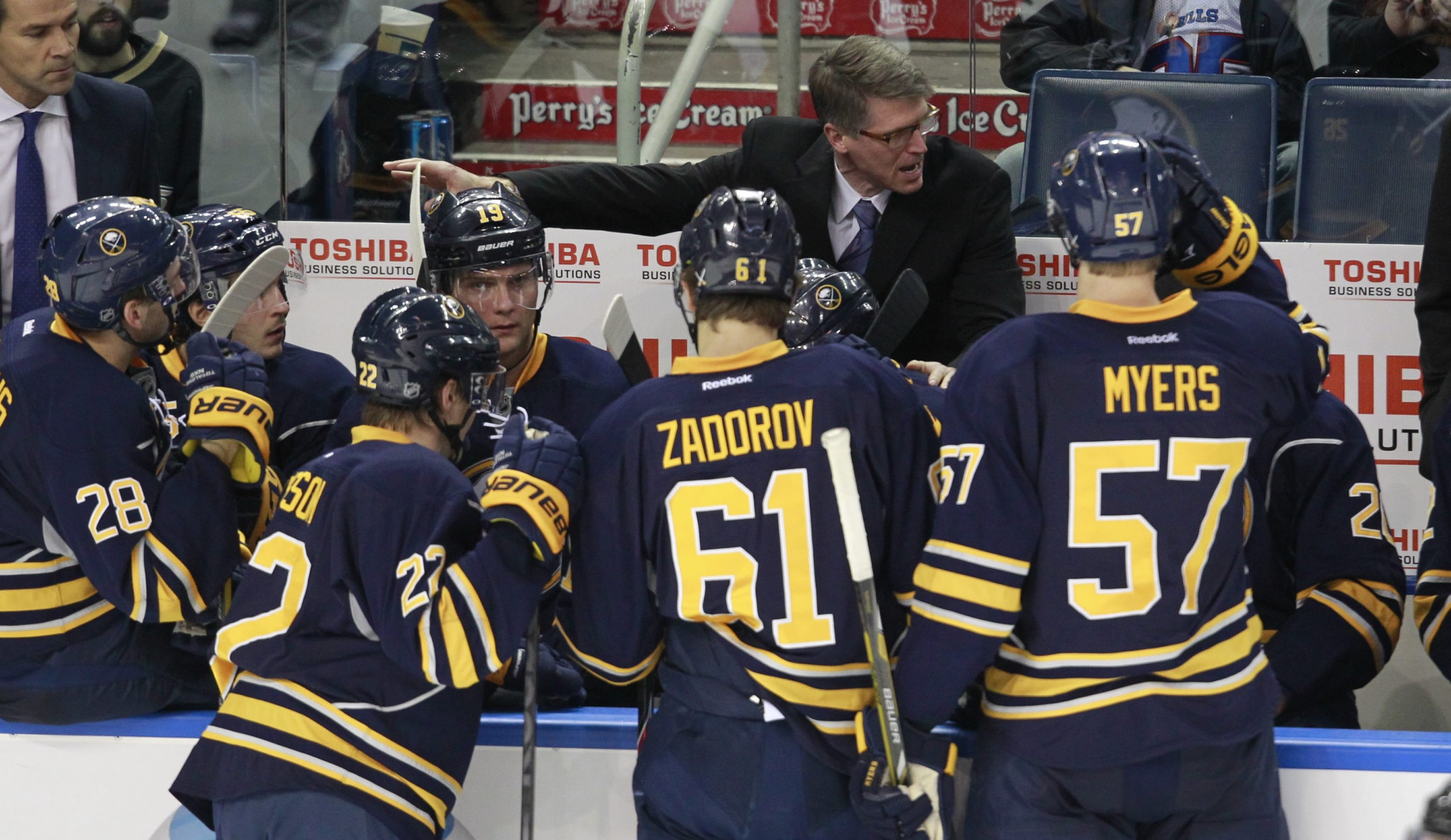 Buffalo Sabres coach Ron Rolston tries to rally his team during a timeout against the Anaheim Ducks.