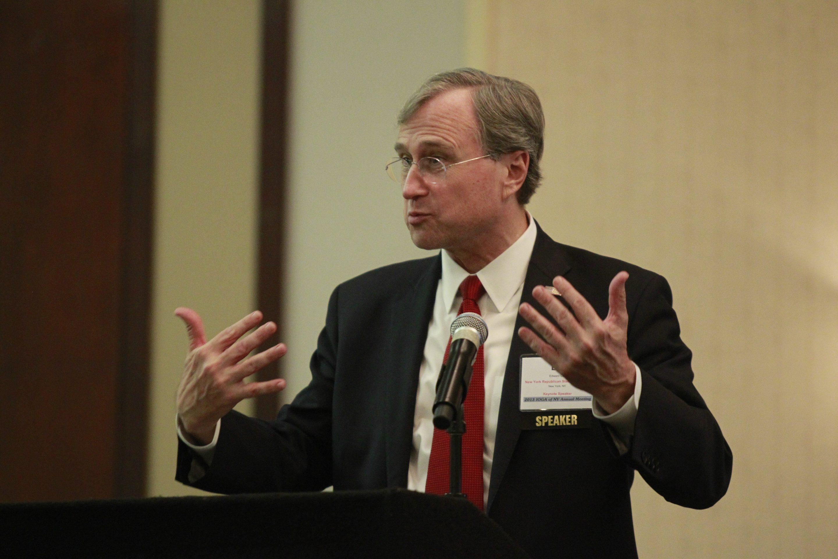 State Republican Chairman Edward Cox speaks to the annual meeting of the Independent Oil and Gas Association of New York Wednesday, criticizing the moratorium on hydraulic fracturing.