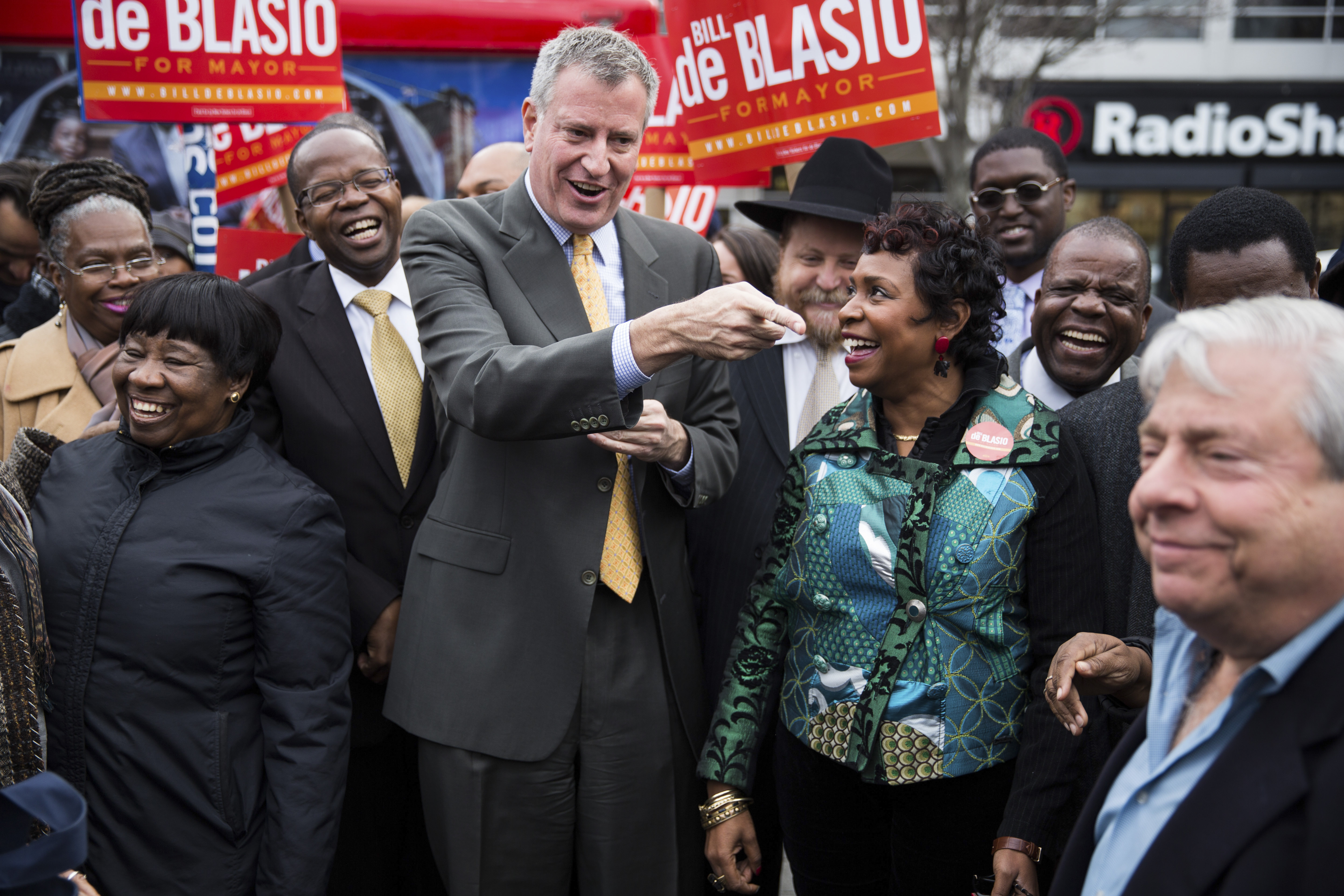 Bill de Blasio greets supporters on Election Day in the Brooklyn borough of New York. He won the election by a wide margin to become the city's 109th mayor and the first Democrat elected to the post since the 1980s.