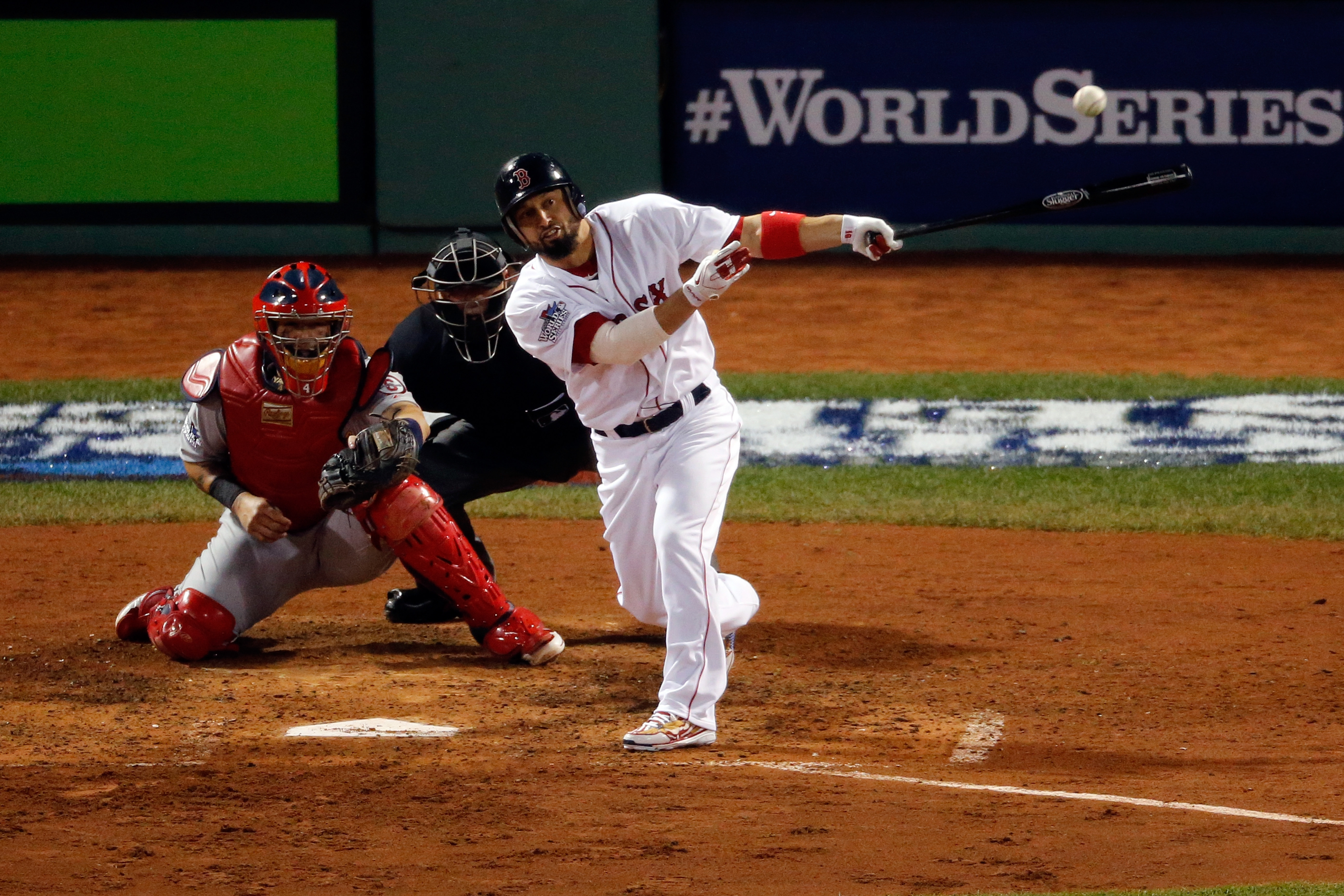 Shane Victorino's bases-clearing double in the third inning gave the Red Sox the lead for good in the deciding Game Six of the World Series on Wednesday night.