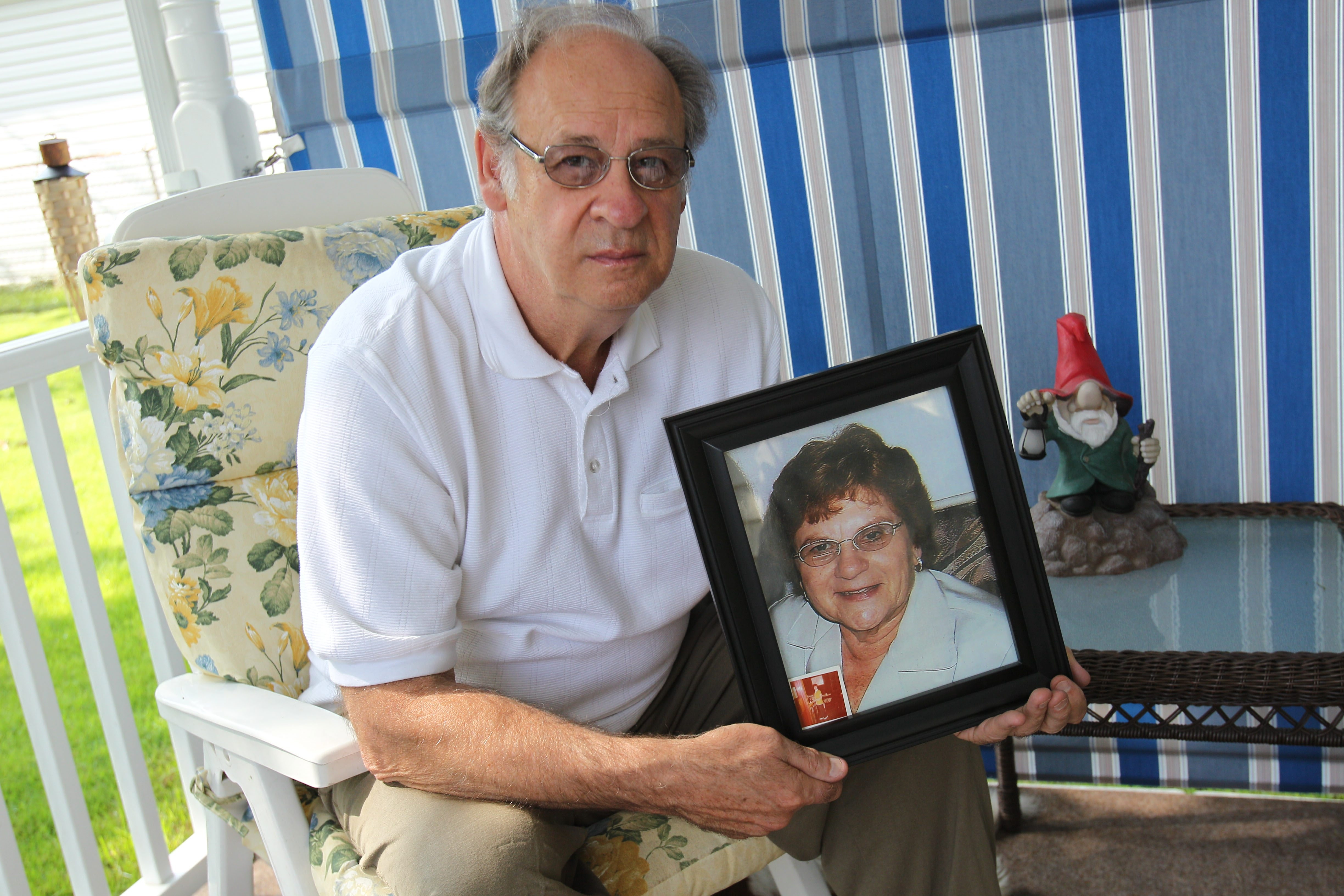 """Alphonse Esposito, of the City of Tonawanda, who lost his wife, Joan, to bone cancer two years ago, would """"like to tell the judge what I'm living with."""""""
