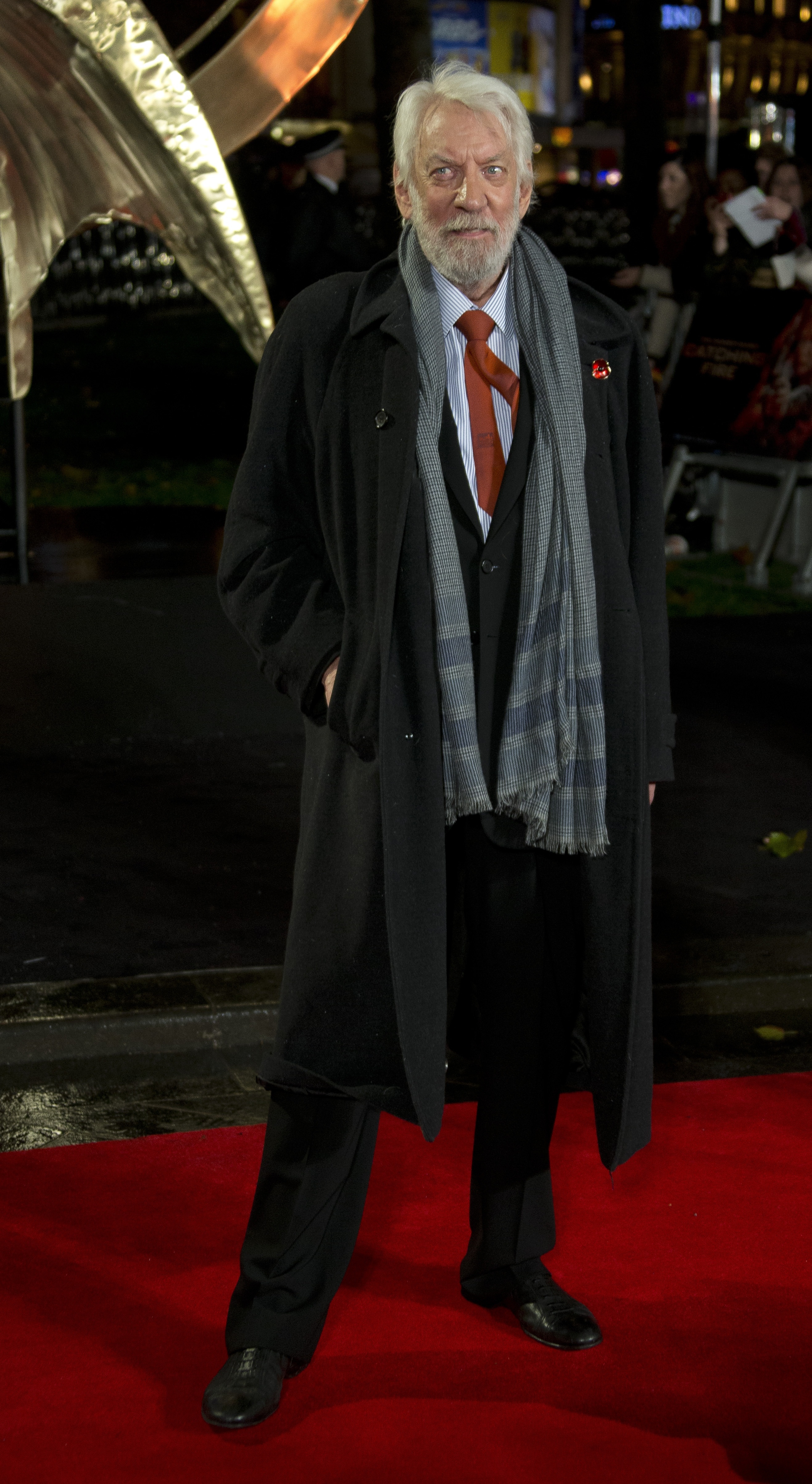 All fired up: Actor Donald Sutherland arrives for the World Premiere of Hunger Games: Catching Fire, at a central London cinema on Monday.