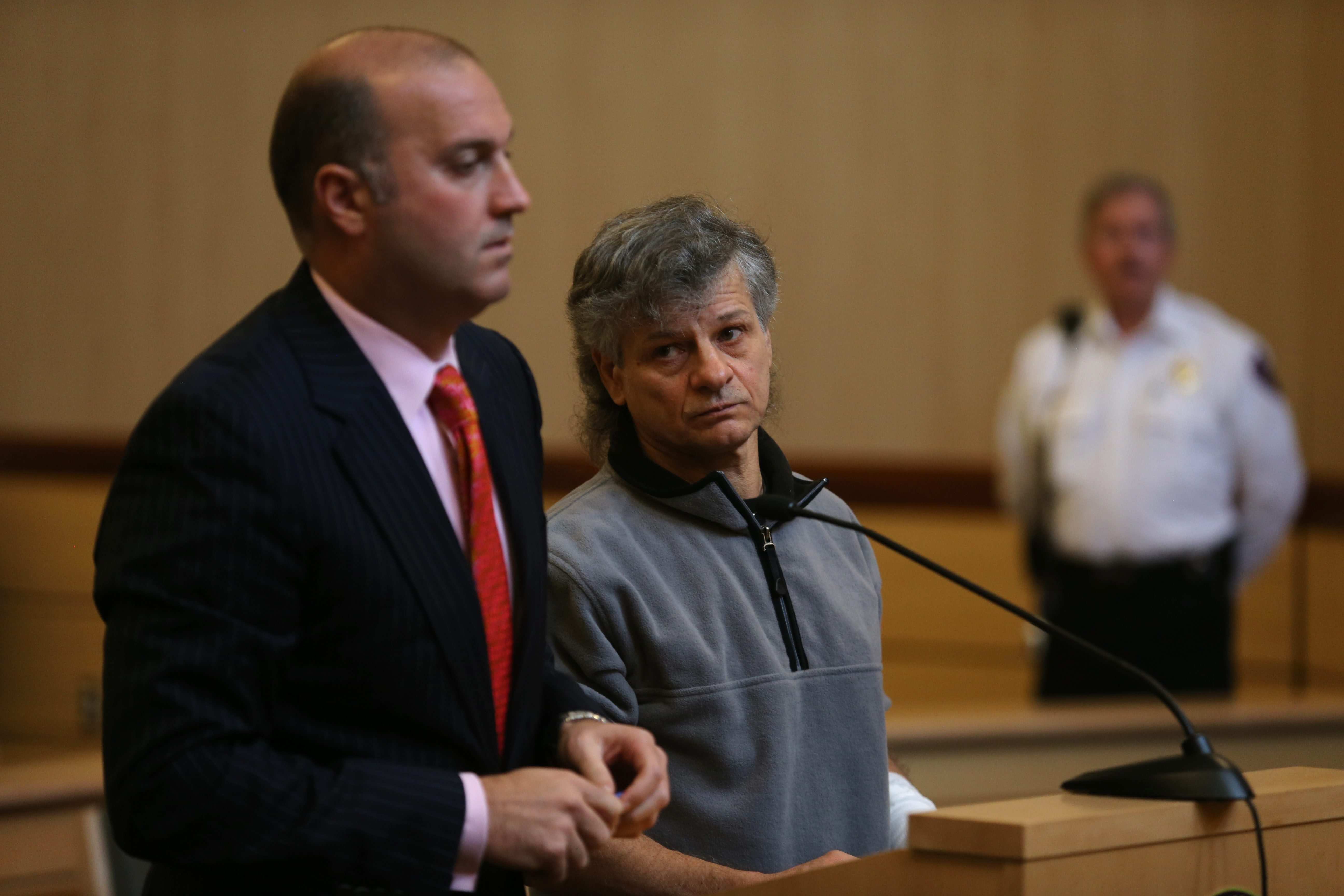 Michael Tortorici, right, stands next to his attorney, Frank LoTempio III, as he addresses Judge Paul Piotrowski Friday in Cheektowaga Town Court on charges of animal abuse.