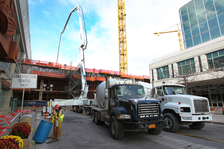 A project milestone as crews pour 1,200 cubic yards of concrete for bridge beams at HarborCenter.