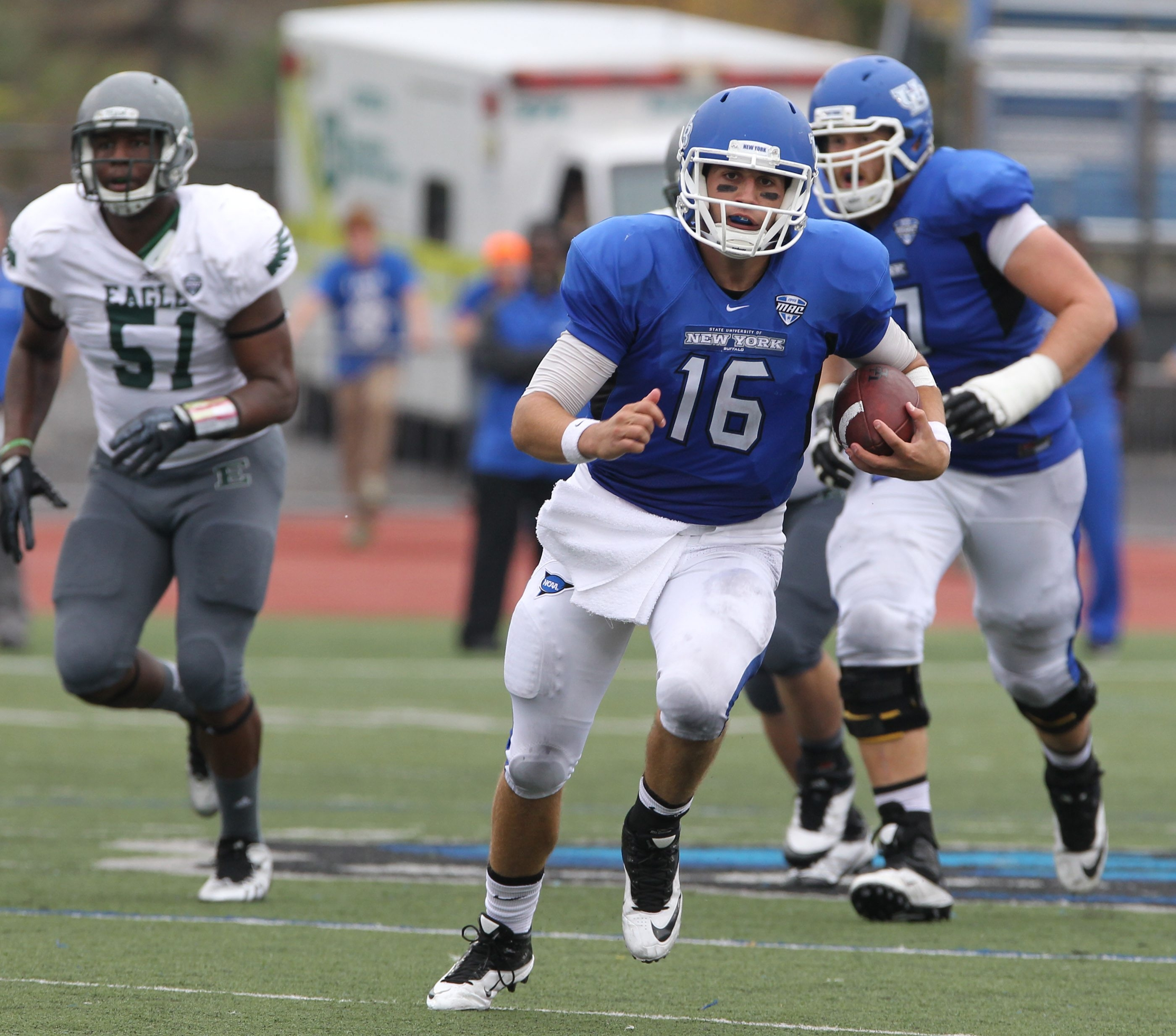 Joe Licata's 497 yards passing ranks seventh in MAC history.