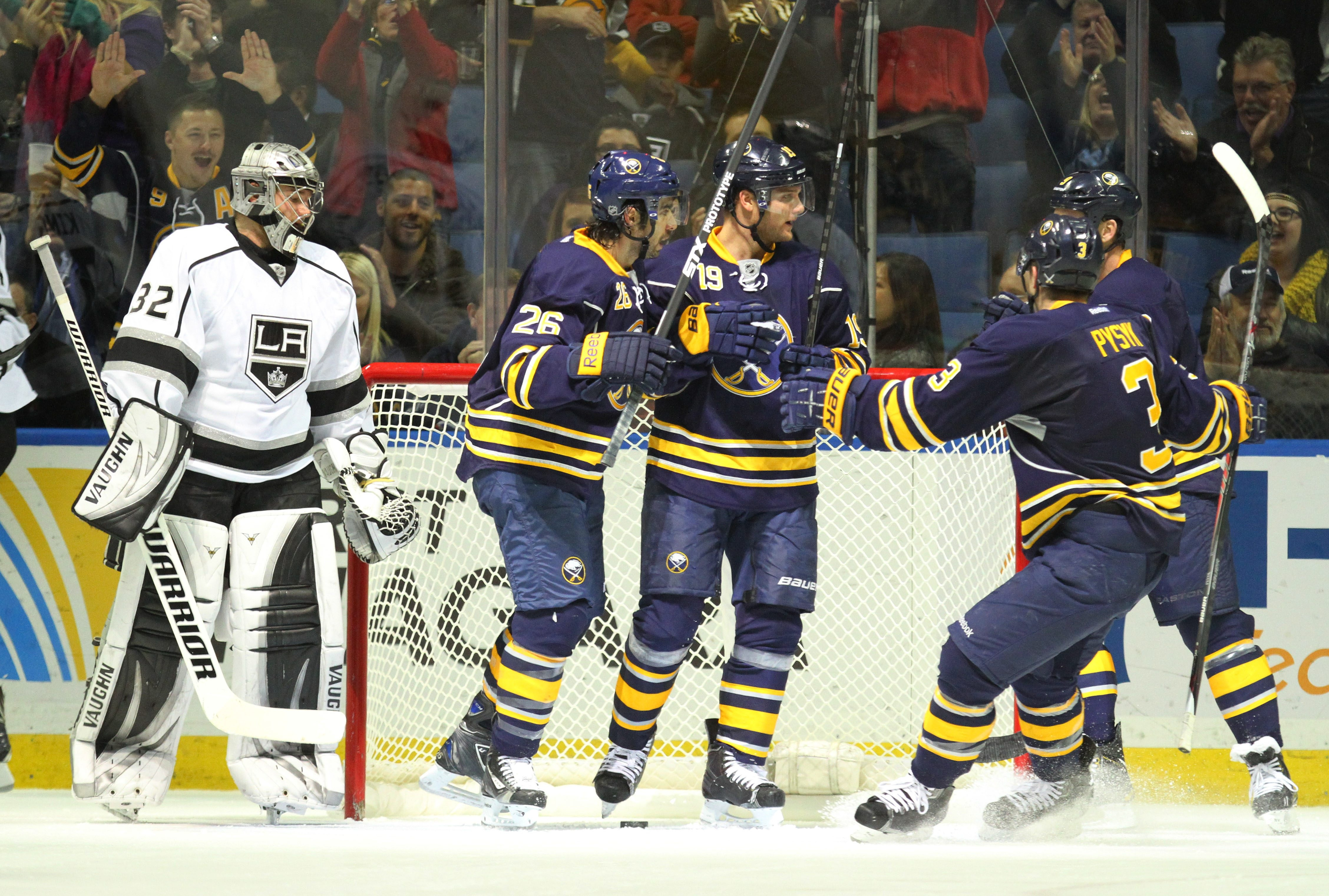The Sabres' Cody Hodgson celebrates his first goal of the game with his teammates during Tuesday's game against Los Angeles at First Niagara Center.  (Mark Mulville/Buffalo News)