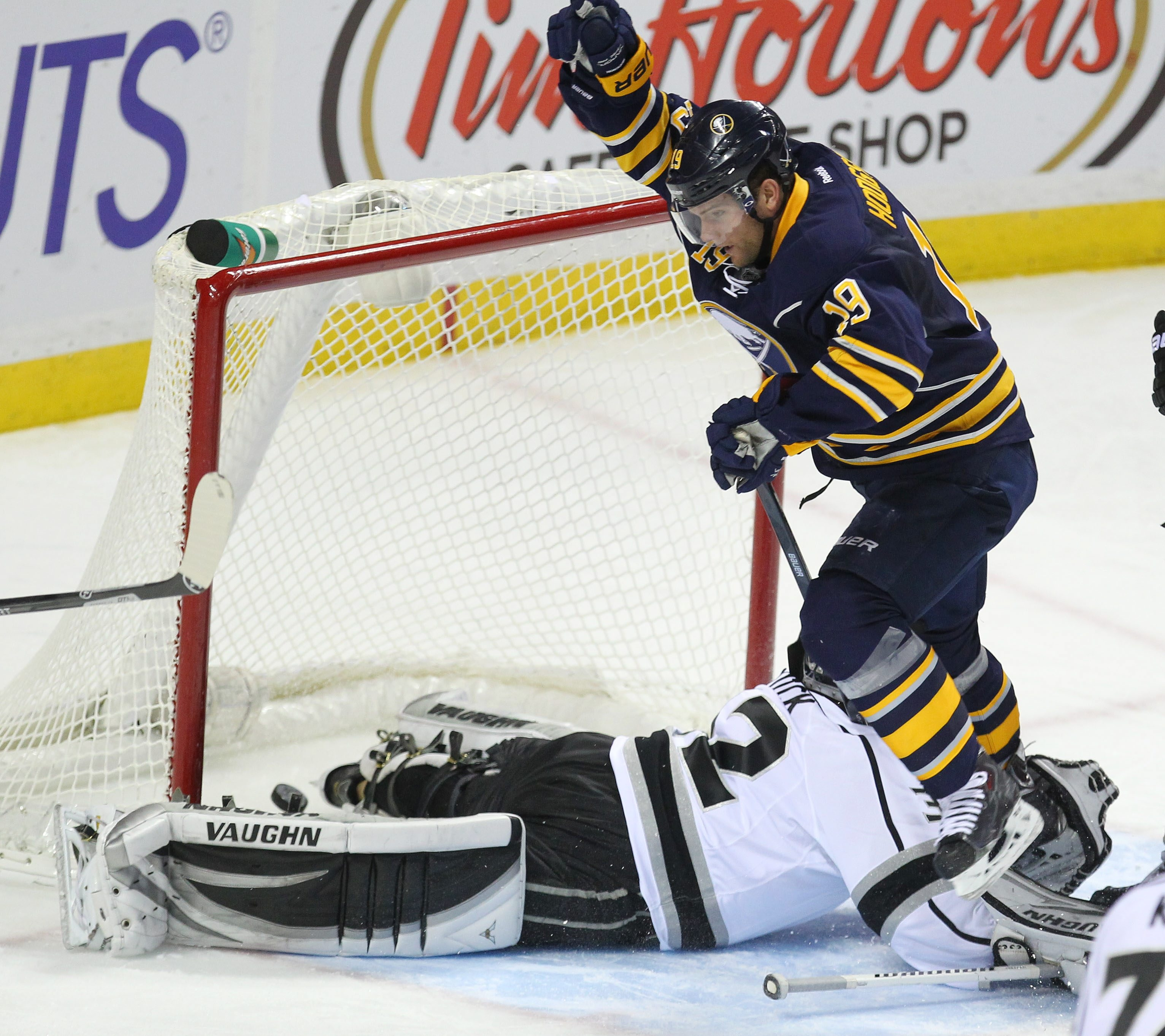 The Sabres' Cody Hodgson puts his second goal past the Kings' Jonathan Quick in the third period. For a video and photo gallery from the game, go to BuffaloNews.com.