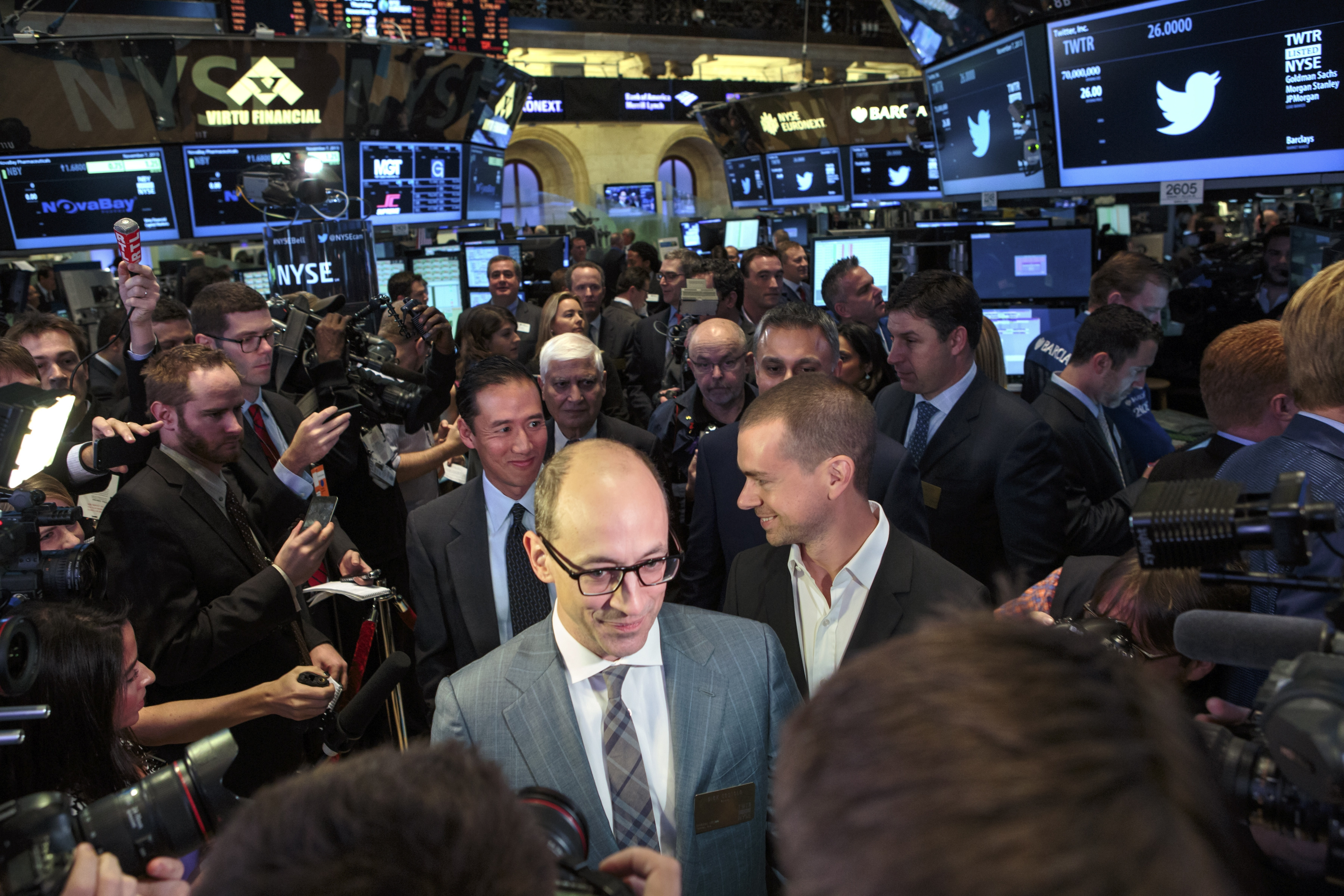 Twitter CEO Dick Costolo talks with traders at the New York Stock Exchange on Thursday, when the company made its initial public offering, selling 70 million shares.