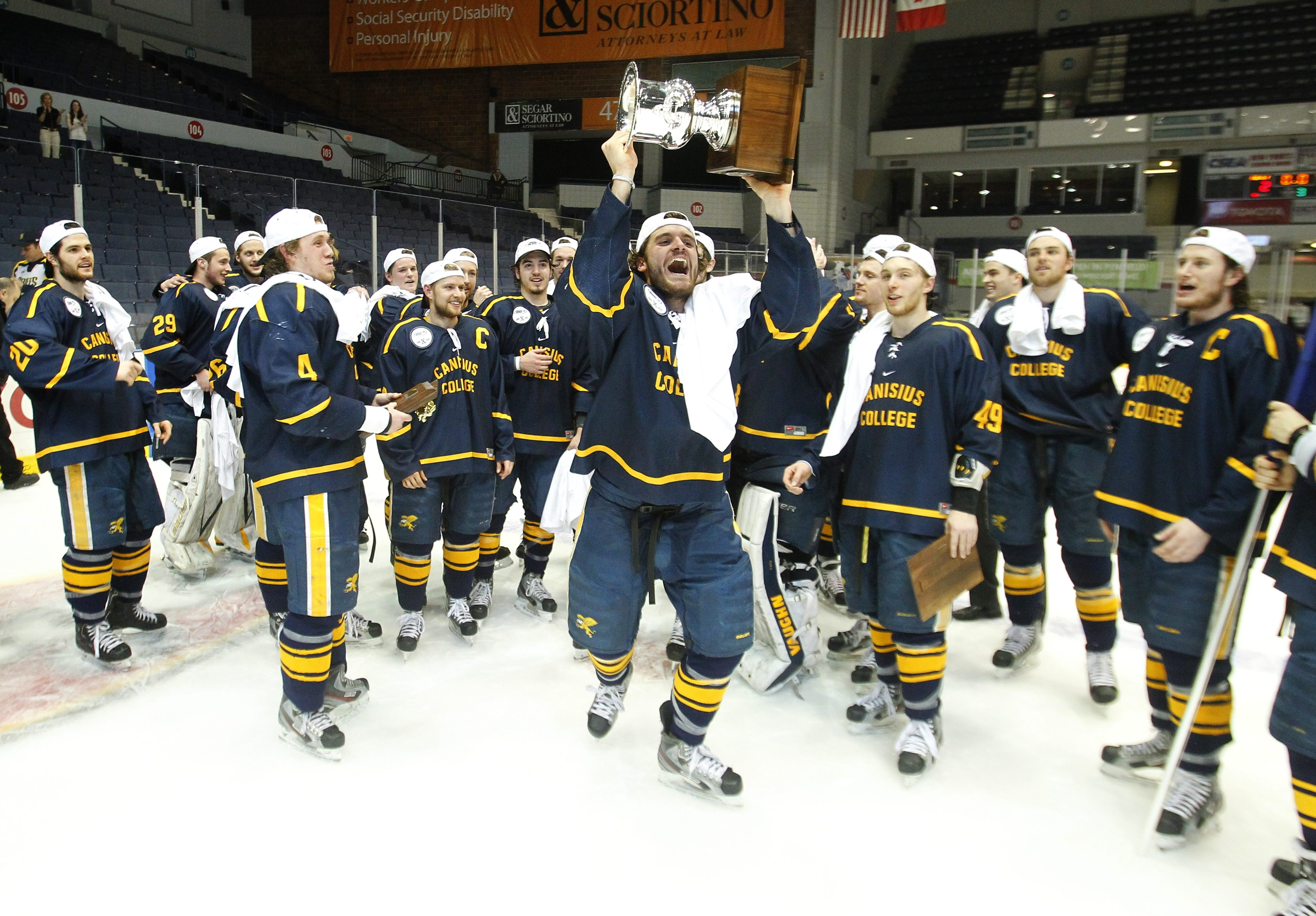 Kyle Gibbons and his Canisius teammates left Blue Cross Arena in Rochester last season with the Atlantic Hockey championship trophy.
