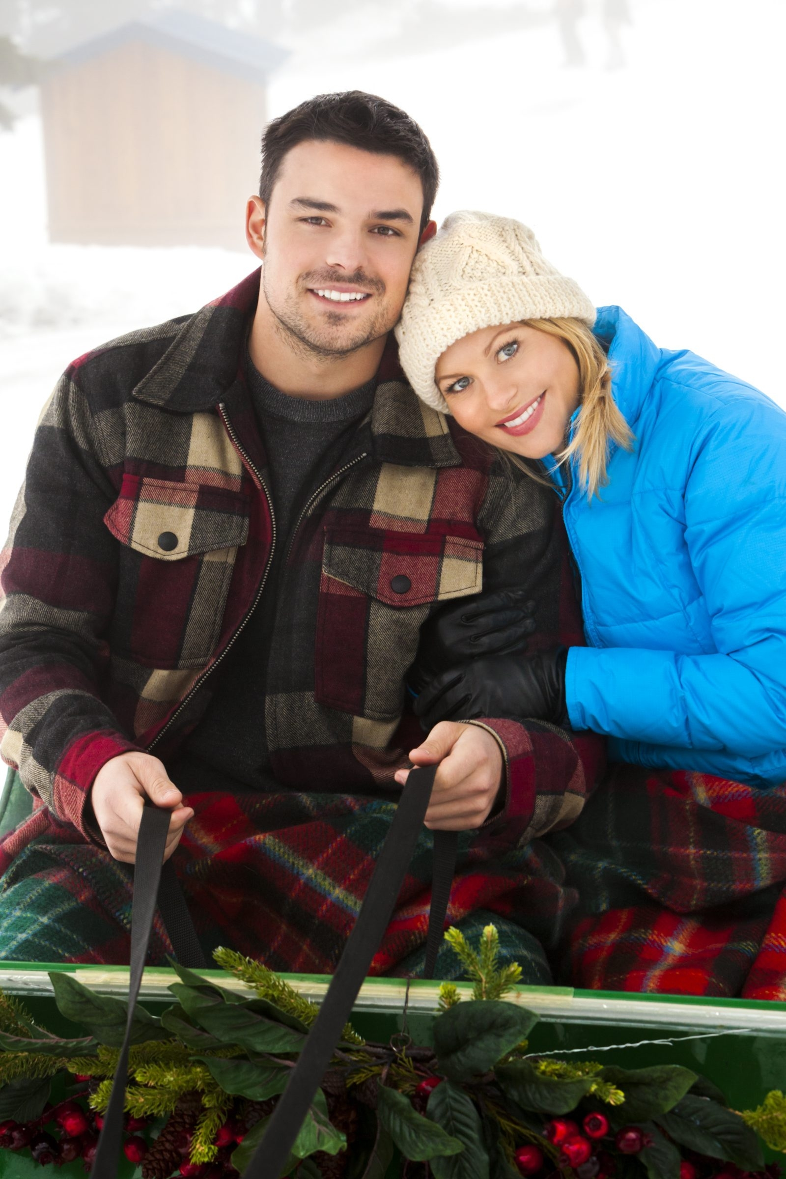 When a family owned ski lodge is sold to a hotel conglomerate, a driven hotel executive must decide if she should follow the company orders to transform the lodge into a modern winter hot spot, or embrace her newfound holiday spirit and keep its Christmas traditions alive. From left to right: Jesse Hutch and Candace Cameron Bure