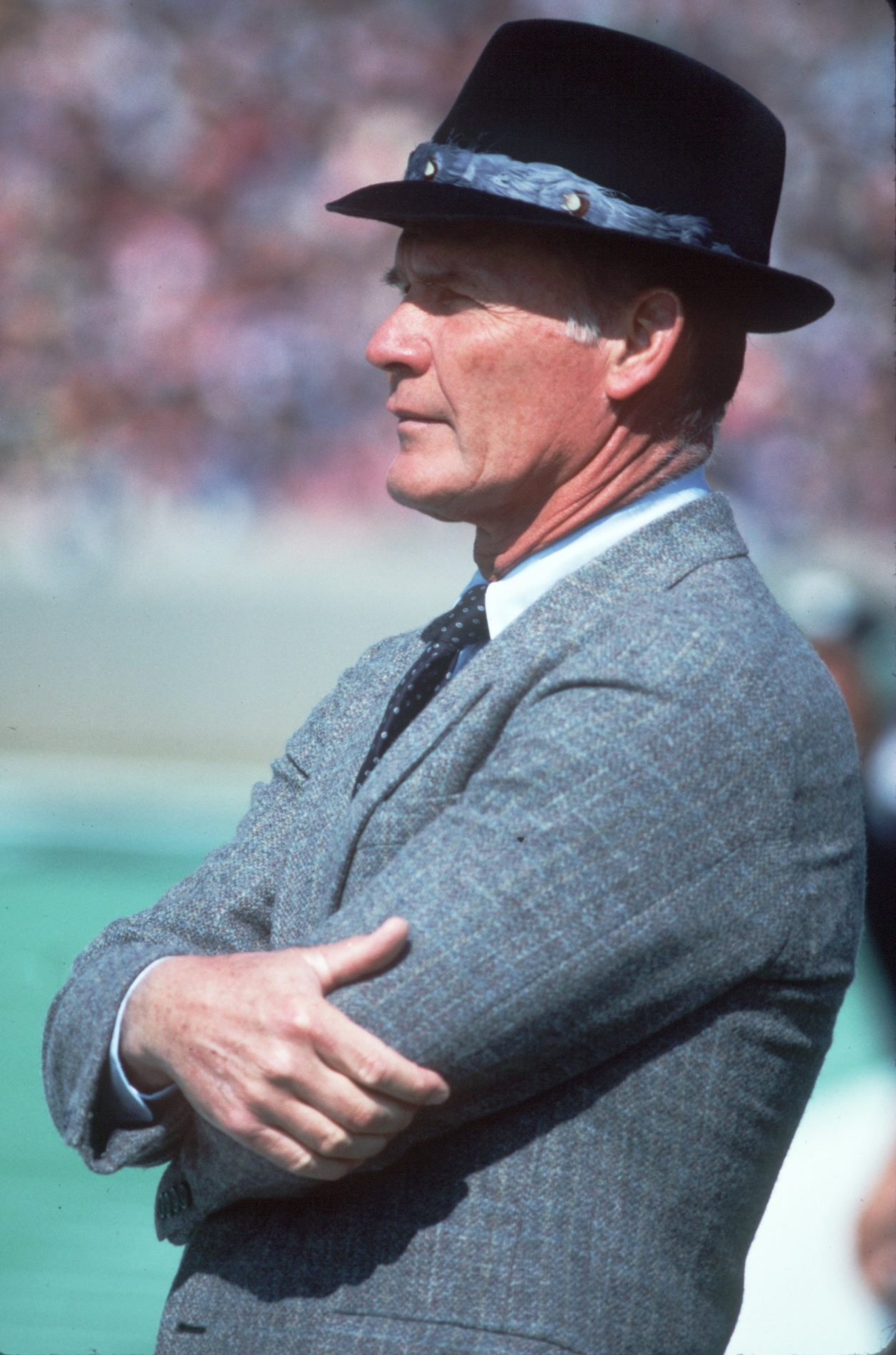 """Long-time Dallas Cowboys coach Tom Landry, seen here in 1984, offered an """"antidote to the chaos and cynicism"""" around him, says author Mark Ribowsky."""