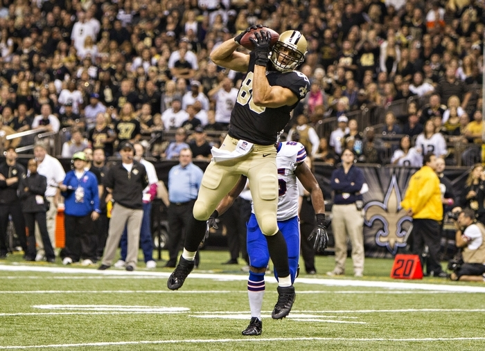 Jimmy Graham of the New Orleans Saints catches a pass and scores one of his two touchdowns against the Buffalo Bills. (Photo by Wesley Hitt/Getty Images)