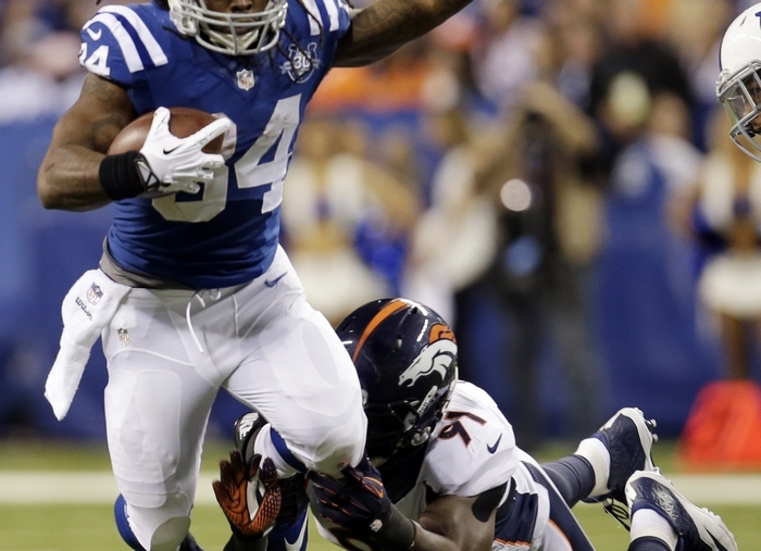 Indianapolis Colts running back Trent Richardson (34) is averaging a modest 3.0 yards per carry. (Associated Press)
