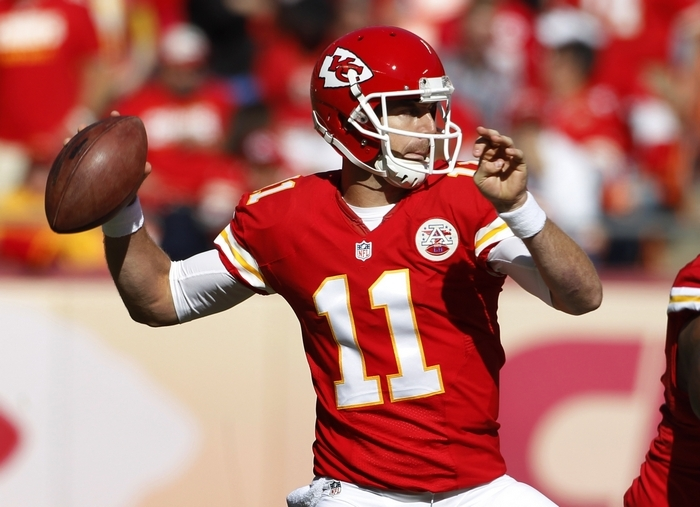 The Bills' pass rush must get to Kansas City Chiefs quarterback Alex Smith during today's game at Ralph Wilson Stadium. (AP Photo/Colin E. Braley)