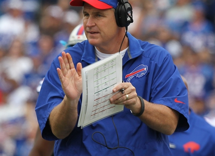 Guilt washes over Bills coach Doug Marrone whenever he encounters a team employee the morning following a loss. He's also haunted by the image of a dejected Bills fan going home and not feeling good after failing to lead the Bills to victory.  {Photo by James P. McCoy / Buffalo News}