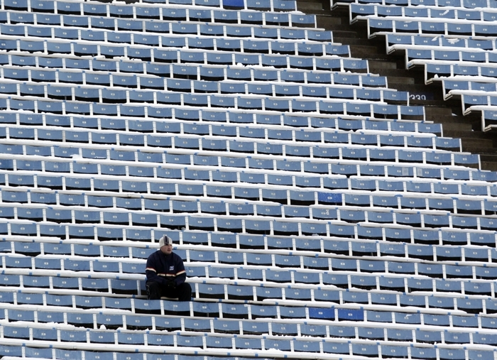 A Buffalo Bills fan sits alone during first-quarter action against the New York Jets at Ralph Wilson Stadium on Dec. 30, 2012. (Harry Scull Jr./Buffalo News)