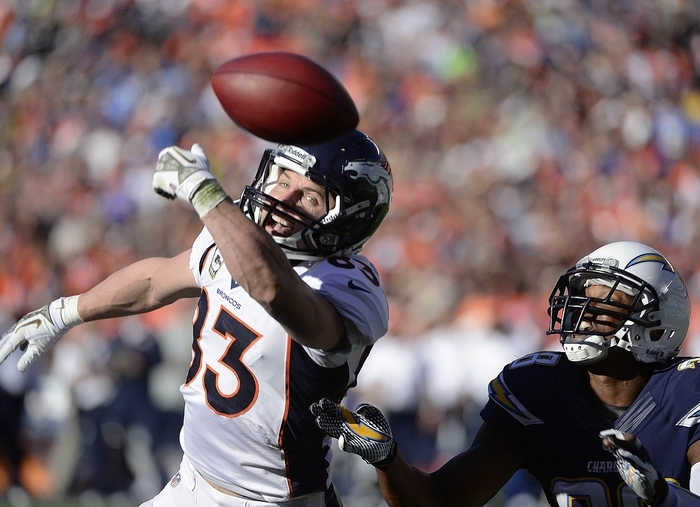 Wes Welker and the 8-1 Broncos are favored against the 9-0 Chiefs. (Getty Images)