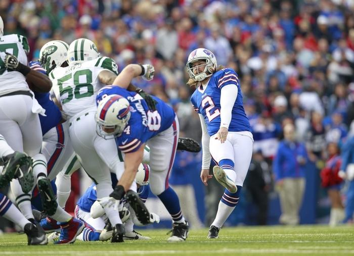 Bills kicker Dan Carpenter had a great day Sunday in making three field goals on a windy afternoon in Ralph Wilson Stadium. (Harry Scull Jr./Buffalo News)