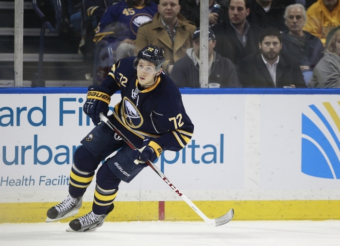 Luke Adam played four games for Buffalo last season, scoring one goal, but didn't get a chance to make the team this season. (Harry Scull Jr. / Buffalo News)