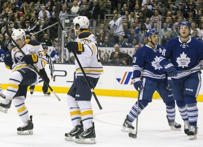 Sabres' Tyler Ennis, left, celebrates scoring his team's second goal with Sabres' Zemgus Girgensons. (Associated Press)