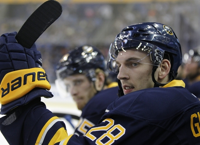 Zemgus Girgensons has gone back and forth between playing wing and center. (Harry Scull Jr./Buffalo News)