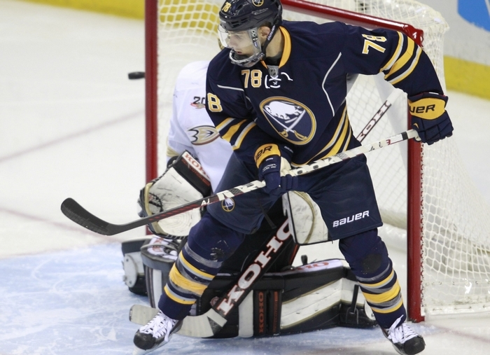 The Sabres waived forward Corey Tropp, who was picked up by Columbus on Thursday. (Harry Scull Jr./Buffalo News)