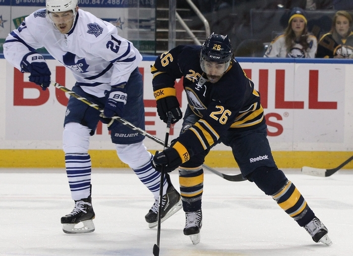 Sabres left wing Matt Moulson (26) has worked with skating coach Dawn Braid to improve that part of his game. (James P. McCoy/ Buffalo News)