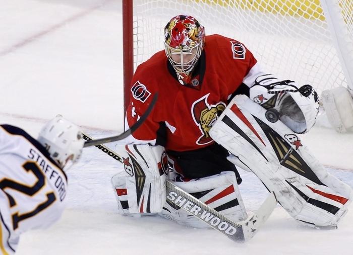 Sabres forward Drew Stafford had six shots on Senators goaltender Craig Anderson during Thursday's game in Ottawa. (Associated Press)