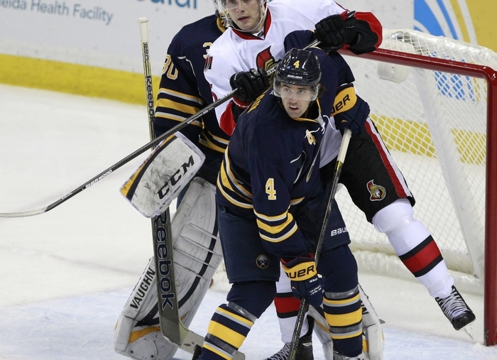 Jamie McBain is playing big-time minutes, paired with Christian Ehrhoff. (Harry Scull Jr./Buffalo News)