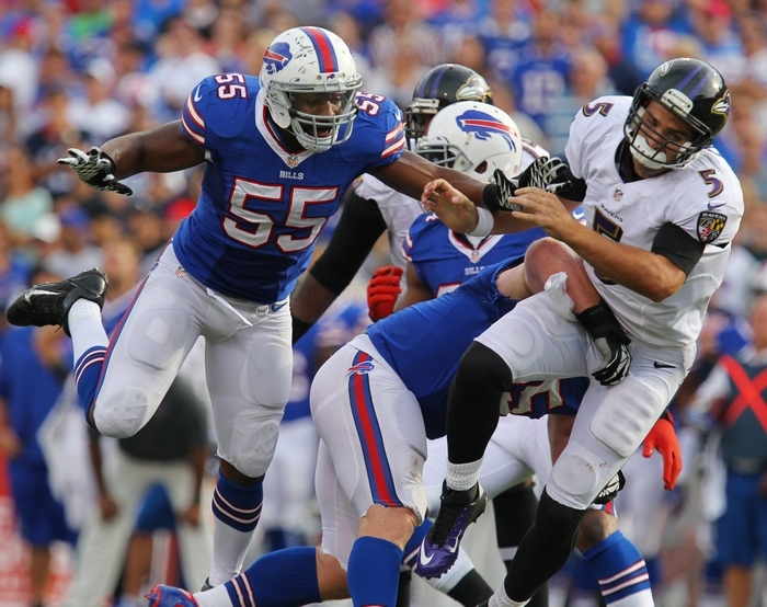 Joe Flacco and the Ravens are hoping for a better day than they had in a loss to the Bills in 2013 (sacked four times and five interceptions in 23-20 loss). (Mark Mulville/Buffalo News)