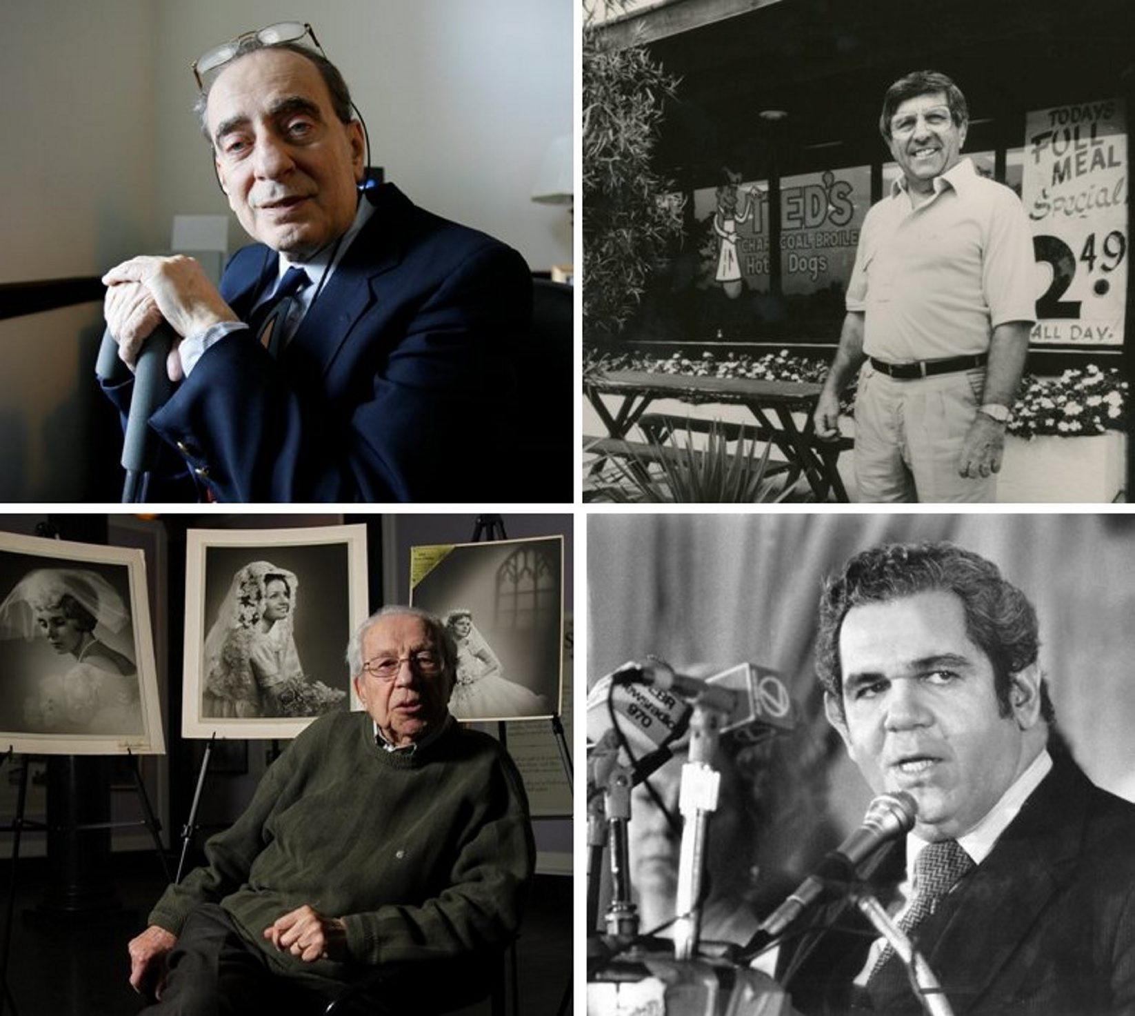 """The end of their stories: Clockwise from top left, James V. Arcadi, a major figure on the political landscape, particularly on the West Side; Spiro """"Ted"""" Liaros, who built Ted's Hot Dogs into the success it is today; Frank Sedita Jr., a judge who served at several judicial levels; and Ettore Porreca, a photographer noted for his bridal portraits."""