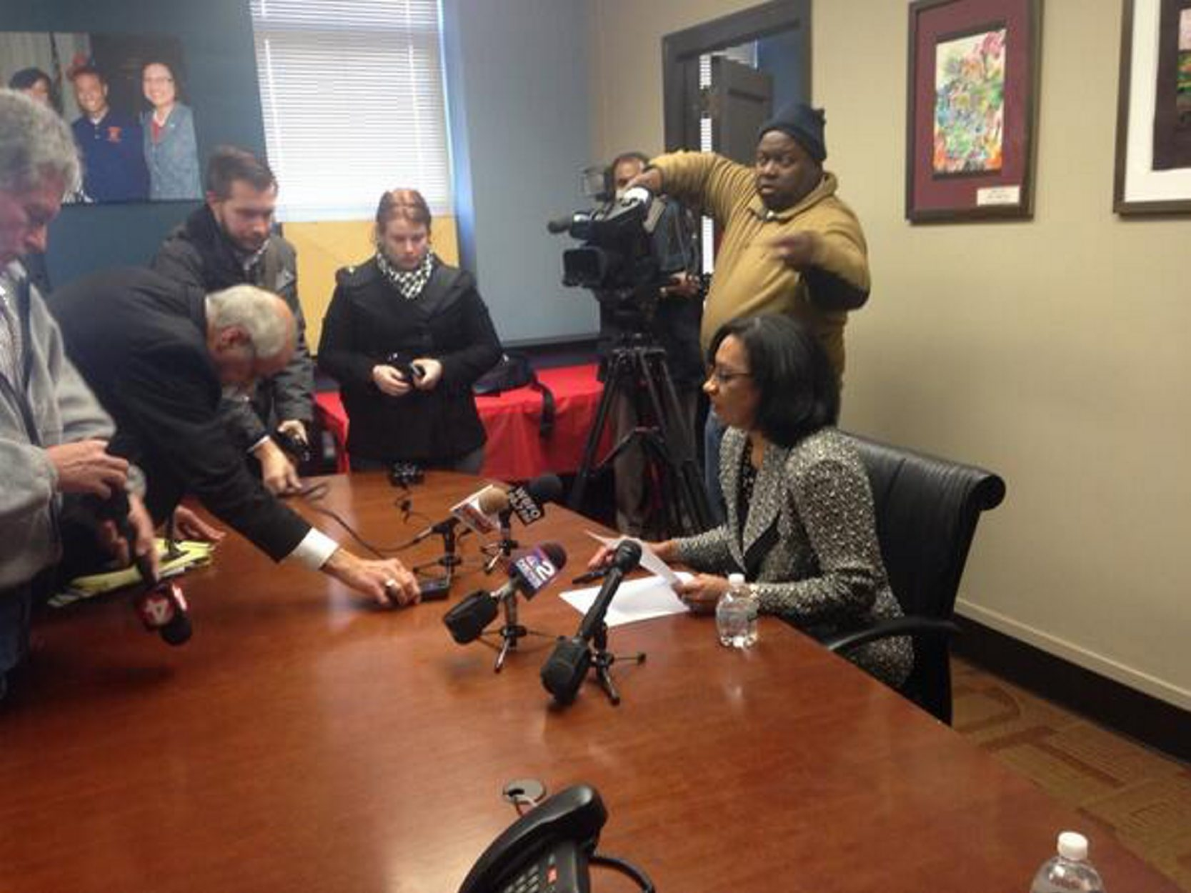 Buffalo Superintendent Pamela Brown addresses the media at a news conference Monday.