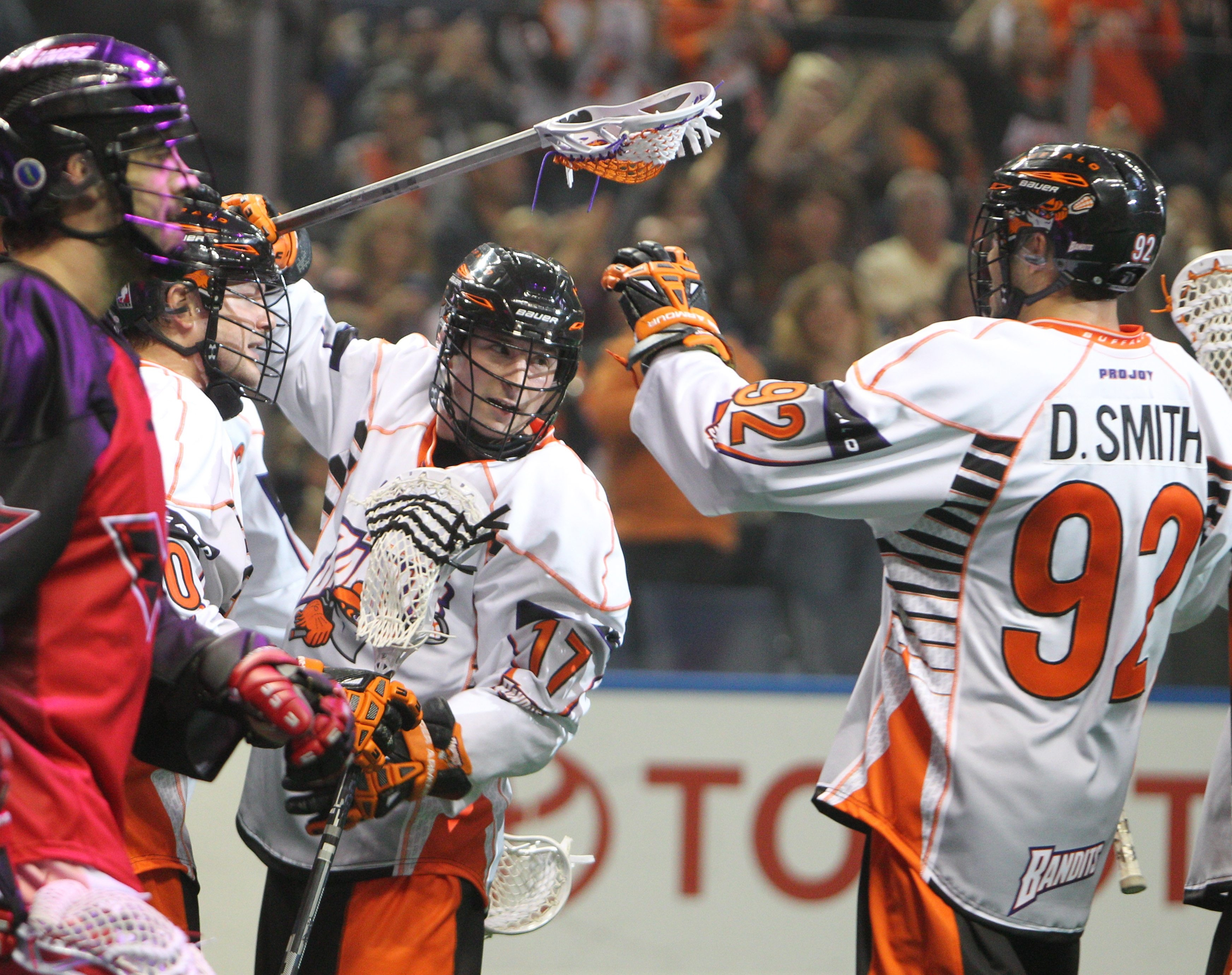 Ryan Benesch celebrates after scoring the Bandits' first goal. Benesch, who played for Minnesota last season, had two goals in his Buffalo debut.