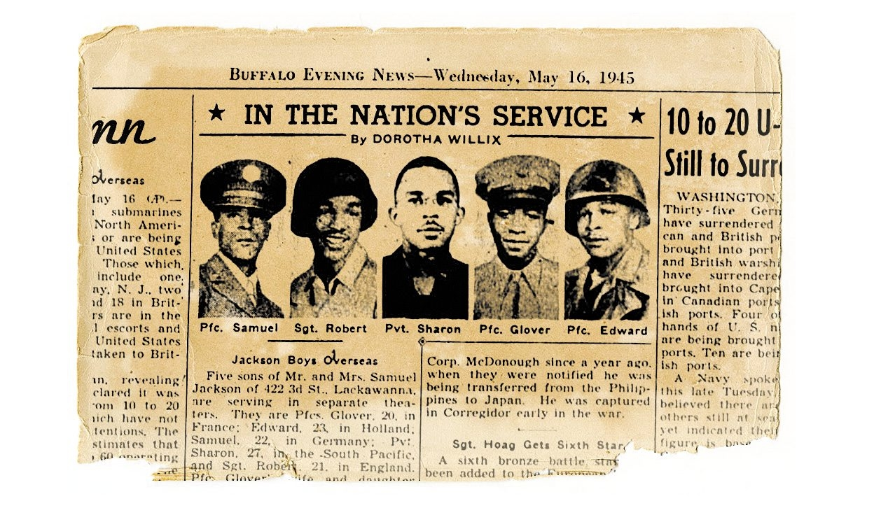 """Buffalo Evening News article of May 16, 1945, about """"Jackson Boys Overseas"""" cites war service of five brothers, from left, Pfc. Samuel, Sgt. Robert, Pvt. Sharon, Pfc. Glover and Pfc. Edward."""