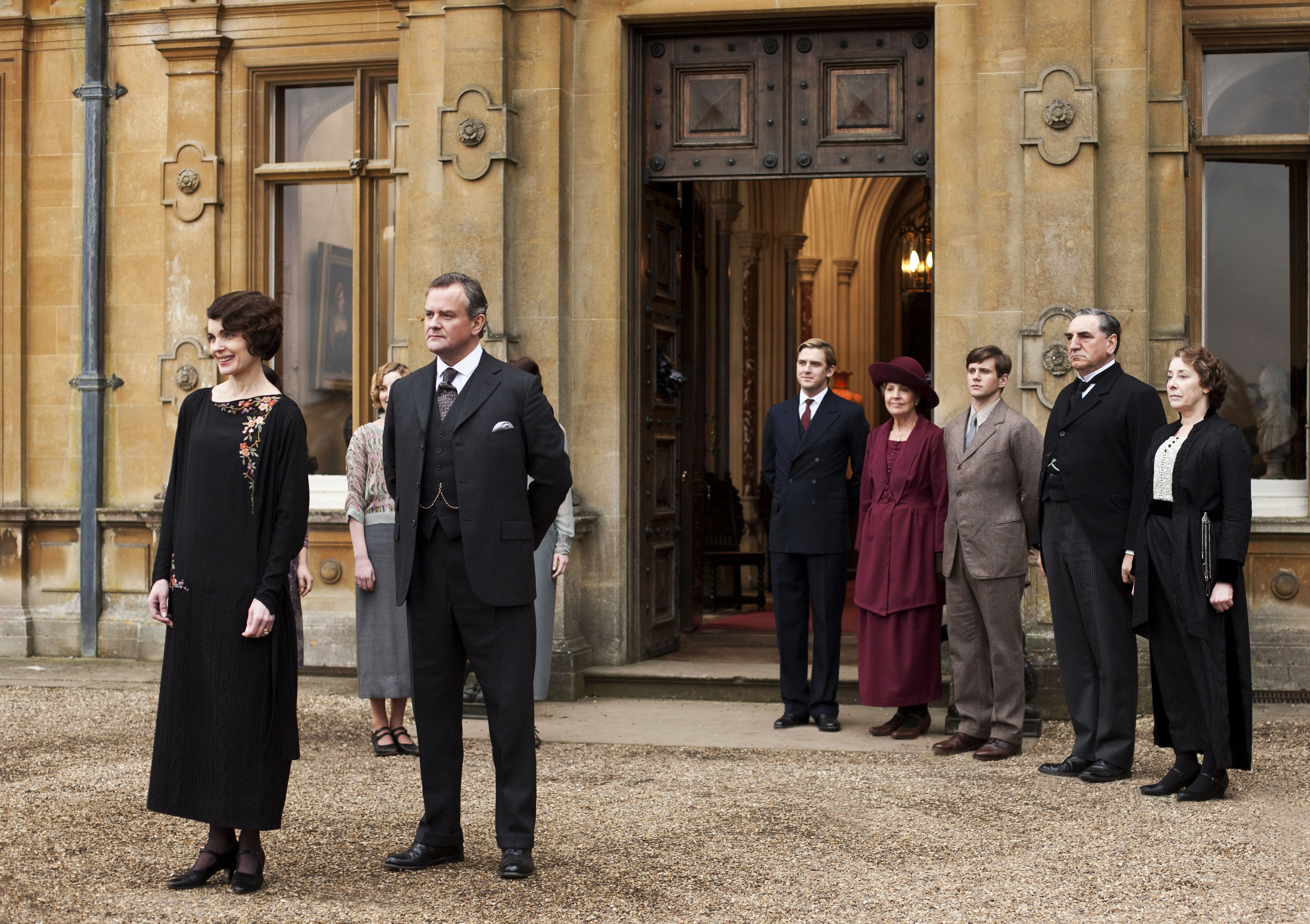 "From left, Dan Stevens, Penelope Wilton, Allen Leech, Jim Carter and Phyllis Logan of ""Downton Abbey,"" which returns for its new season Jan. 5 on PBS."