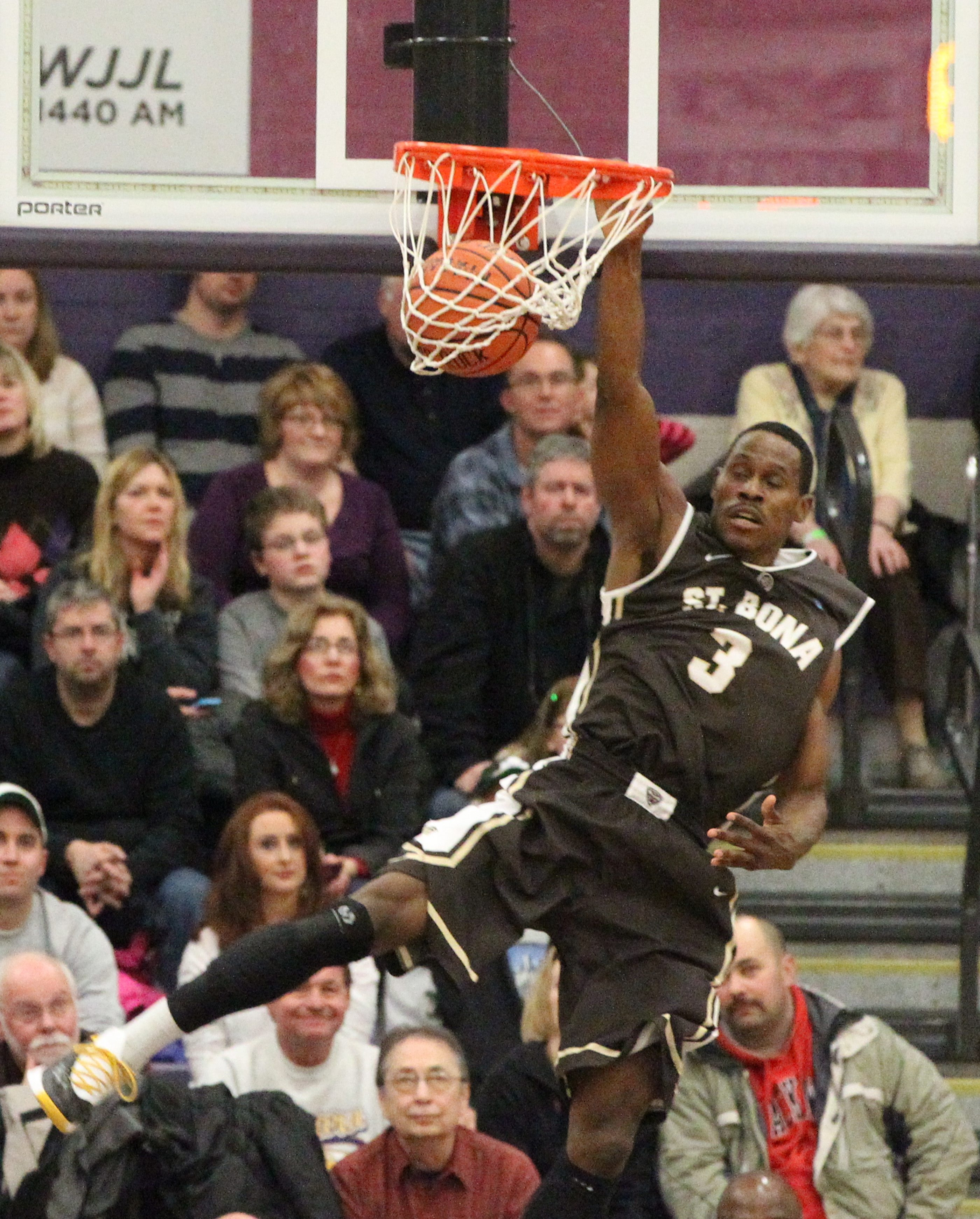 St. Bonaventure's Charlon Kloof dunks the ball after a steal Saturday.