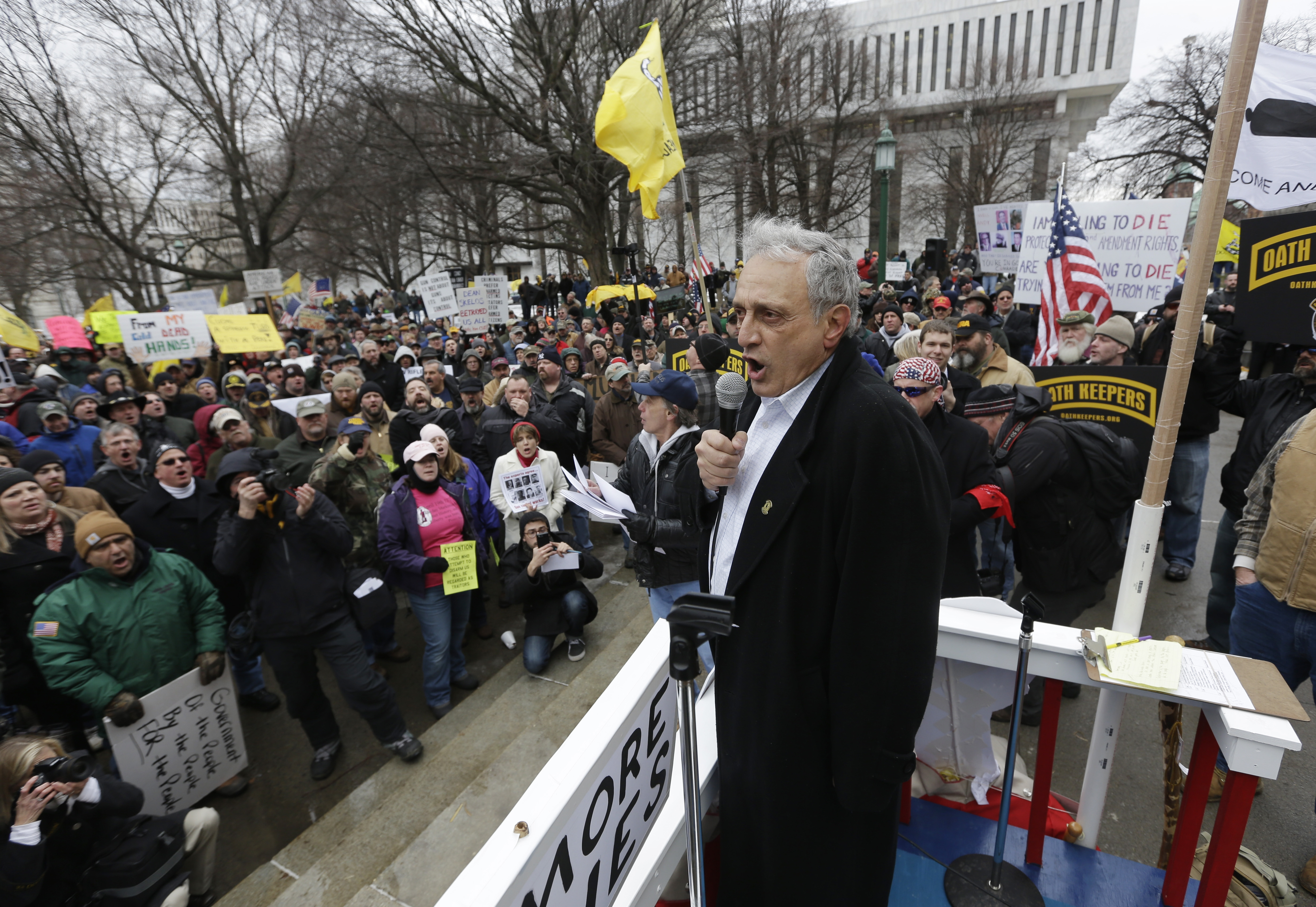 Carl Paladino, the 2010 Republican candidate for New York governor, speaks during a gun rights rally in Albany on Feb. 12.